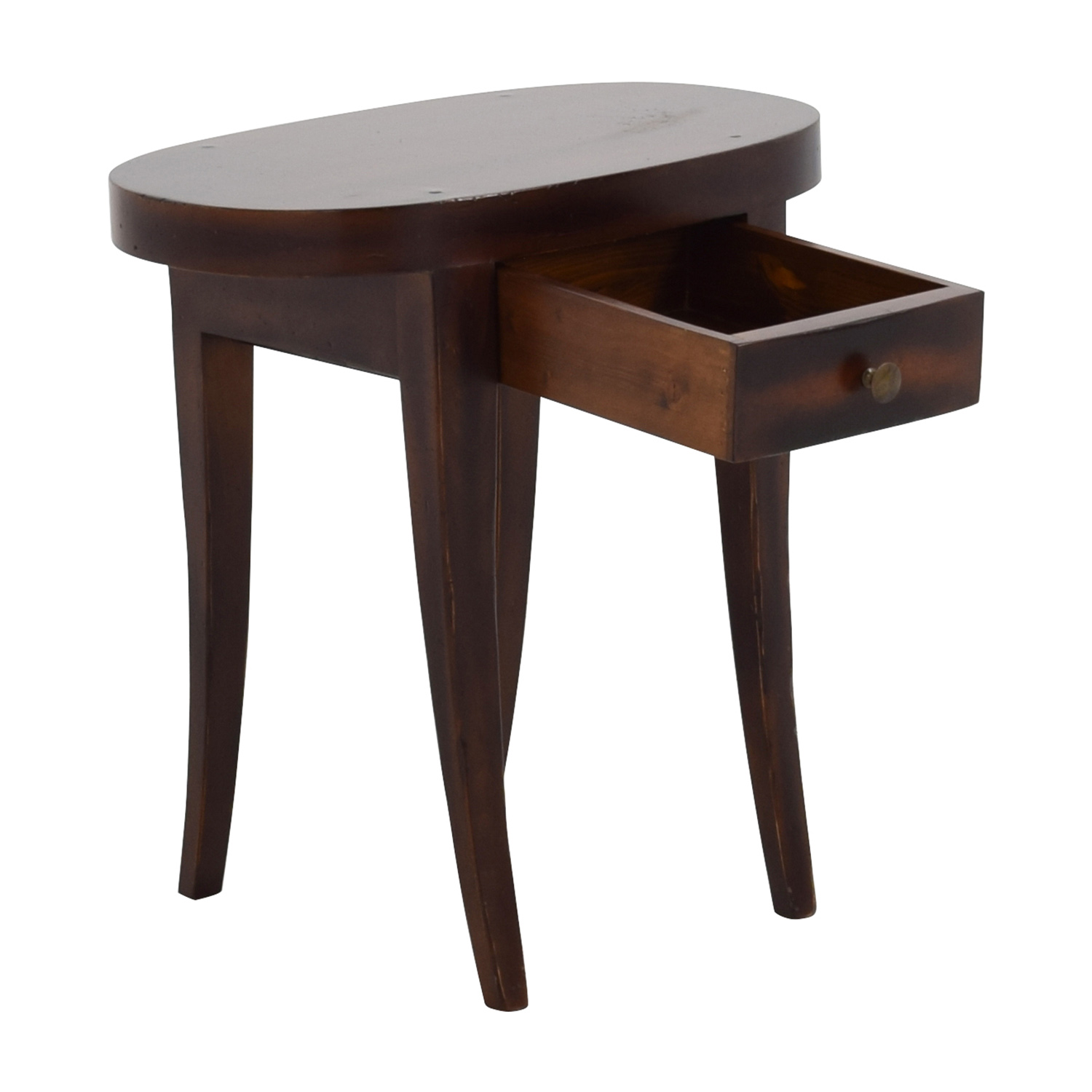 ... Oval Dark Wood Side Table With One Drawer / Tables ...