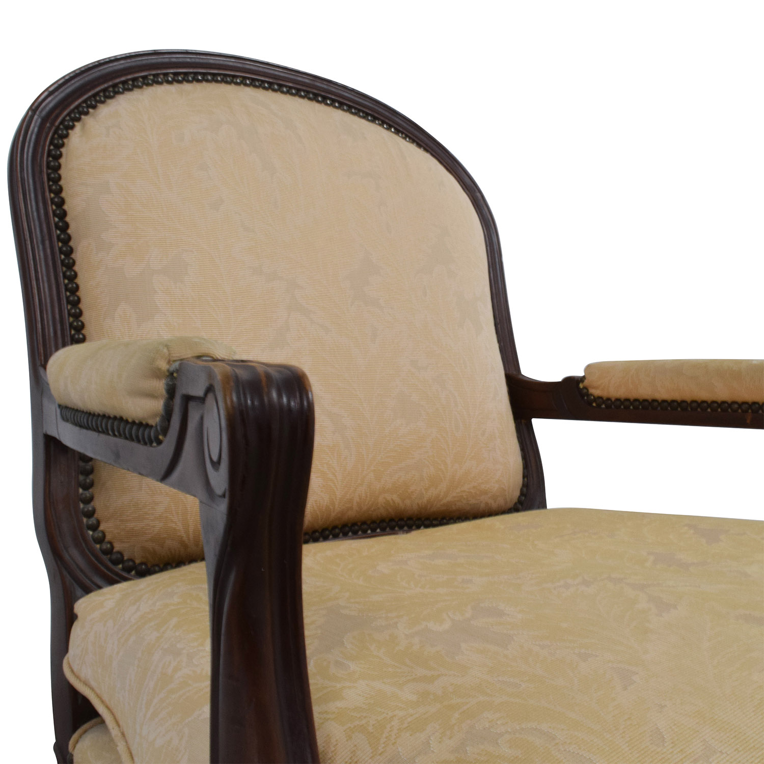 ... Gold Floral Jacquard Upholstered Studded Accent Chair Sale ...