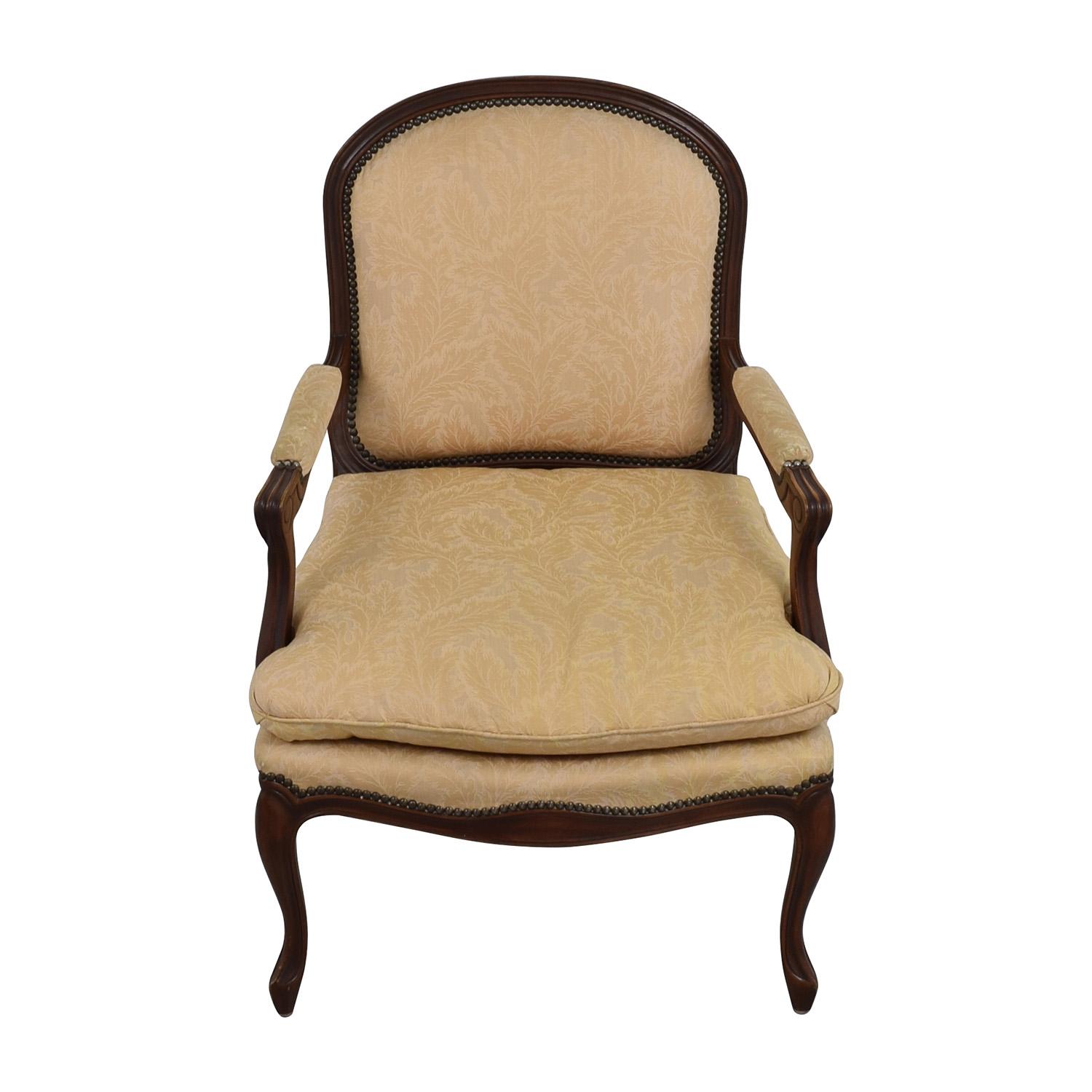 75 off gold floral jacquard upholstered studded accent for Upholstered studded dining chairs