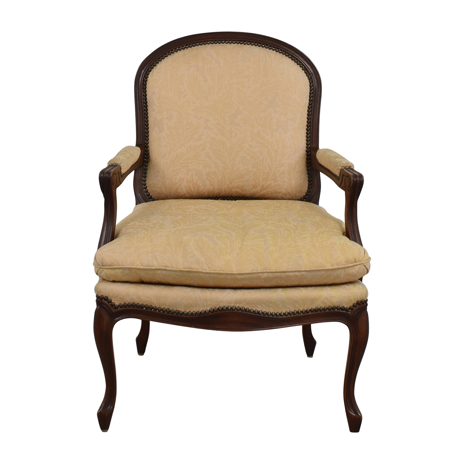 Great Buy Gold Floral Jacquard Upholstered Studded Accent Chair Online ...