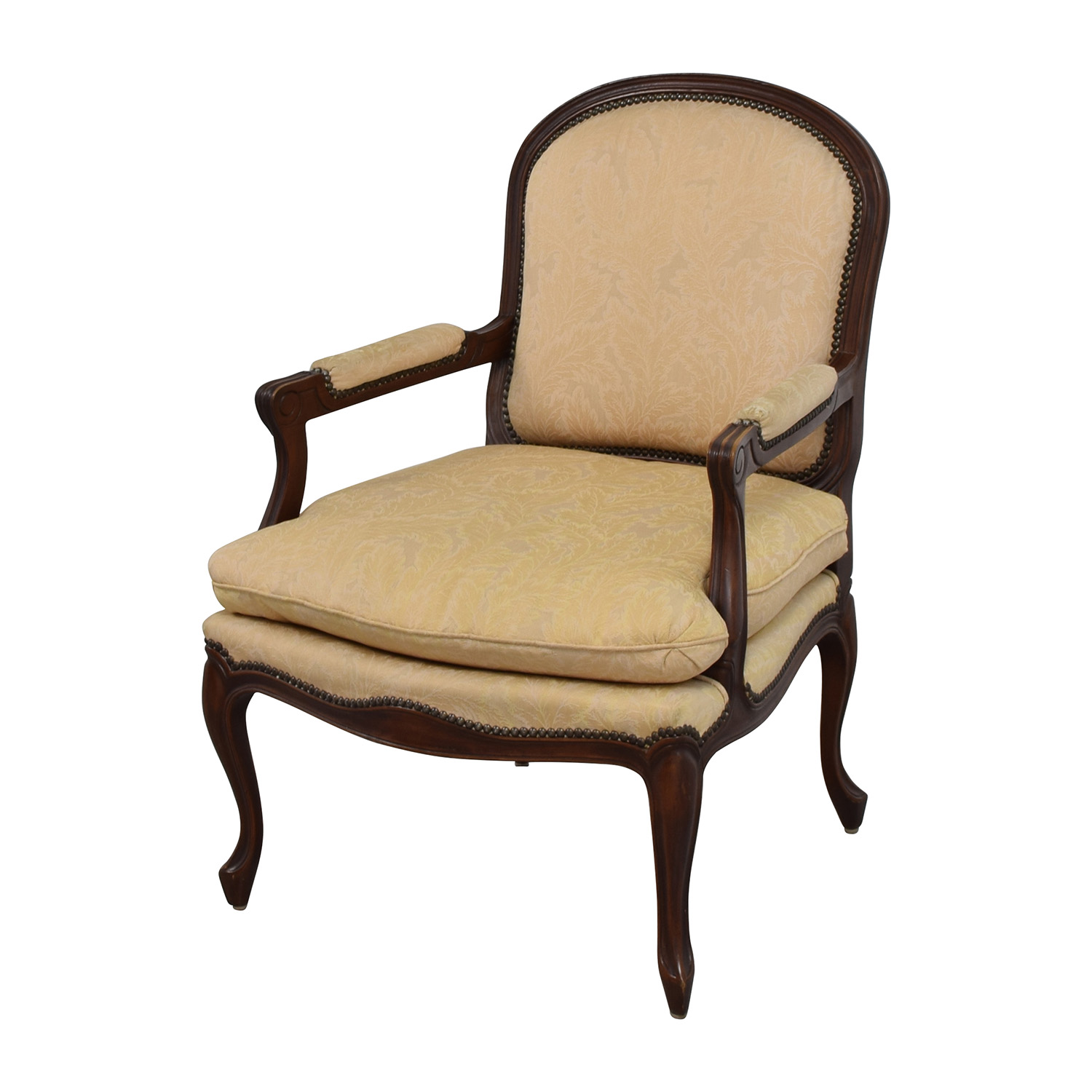 75 off gold floral jacquard upholstered studded accent for Upholstered accent chairs cheap
