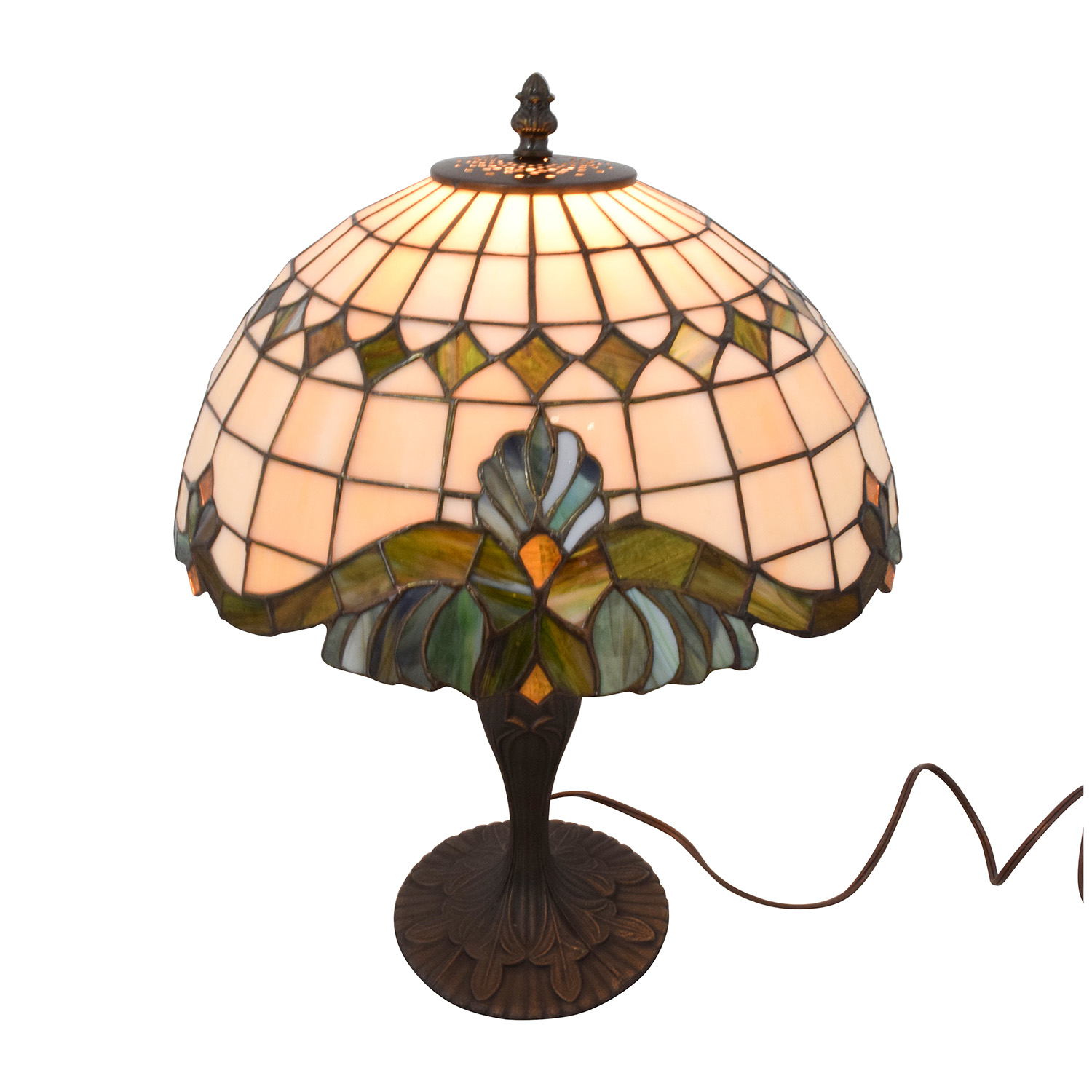 Tiffany Style Lamp with Stained Glass and Metal Neutral Tone