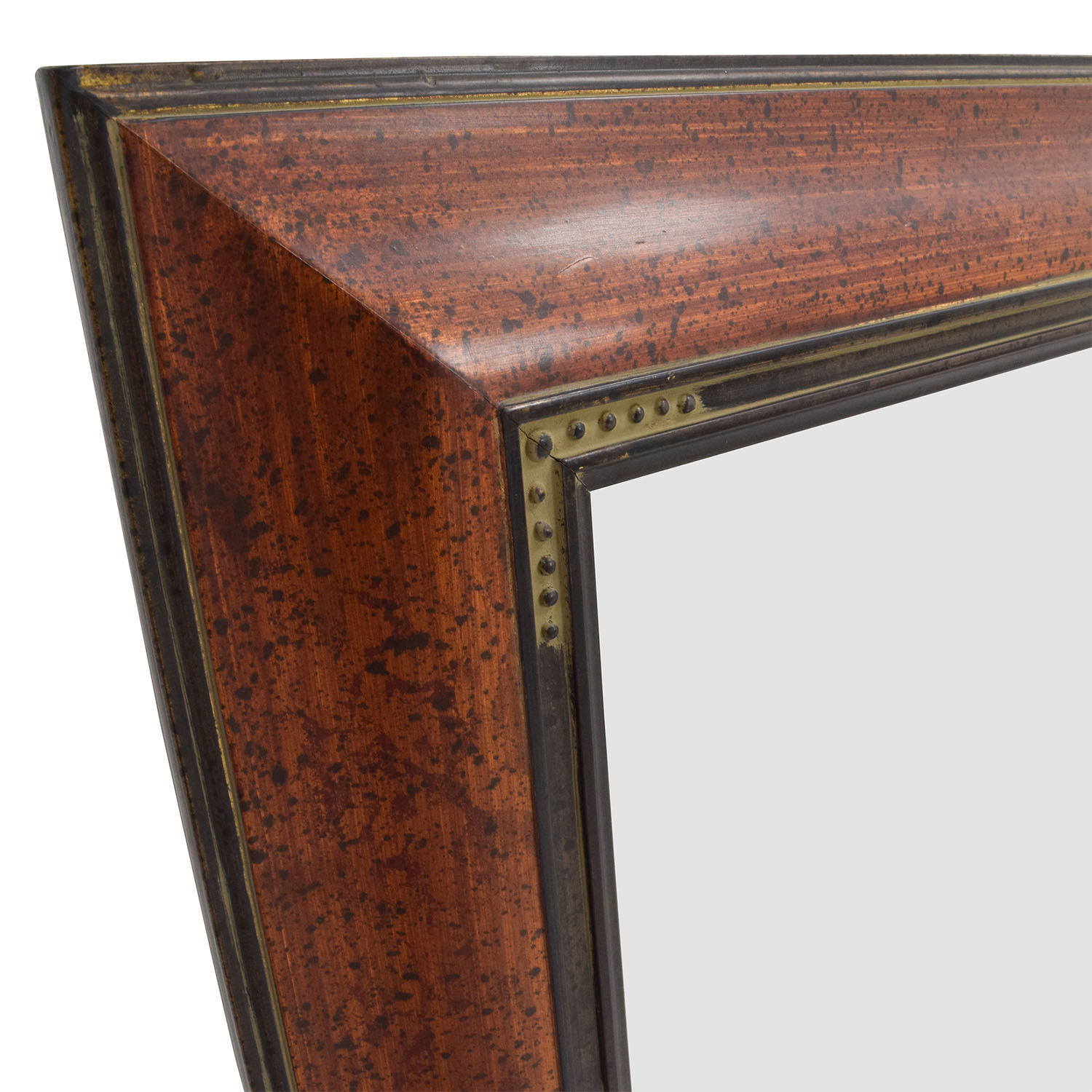 Brown Wood Framed Mirror / Decor