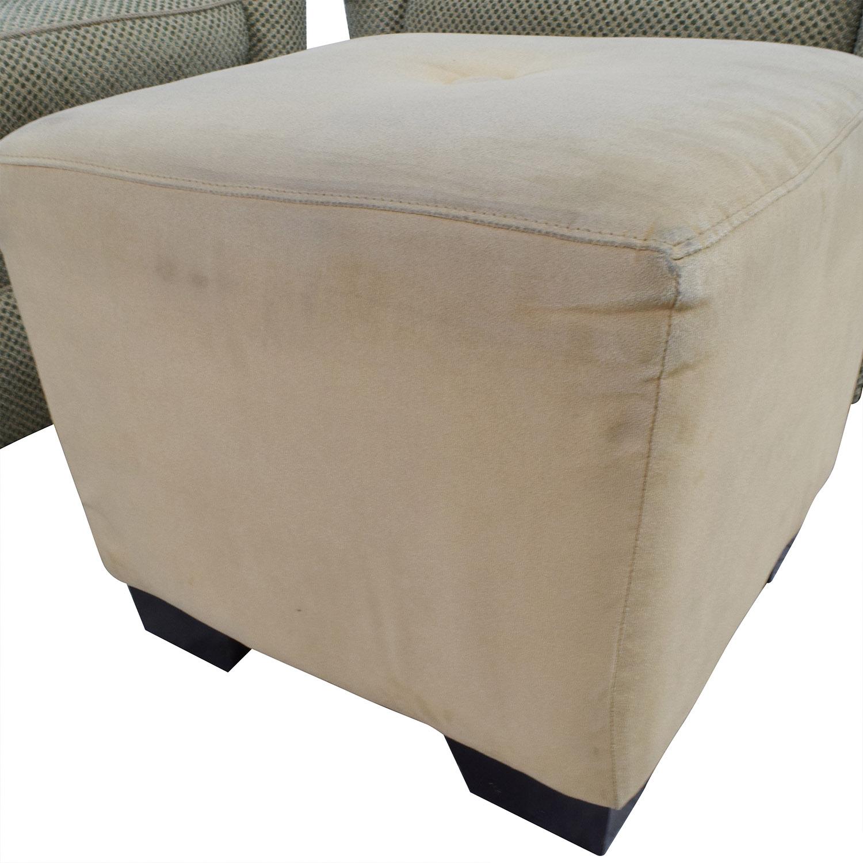 ... Sherrill Furniture Sherrill Furniture Skirted Swivel Club Chairs With  Beige Ottoman Dimensions