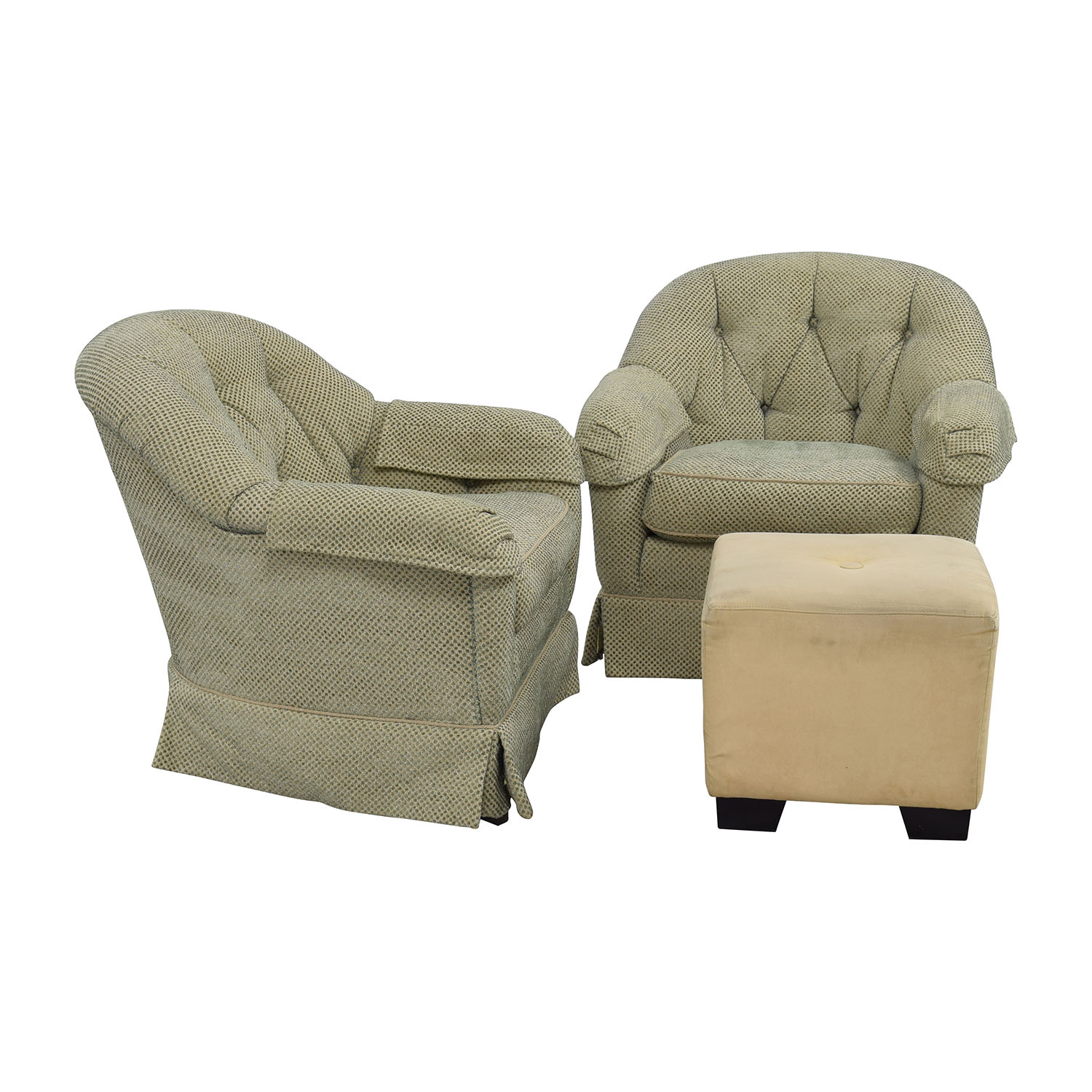 Swivel Club Chairs Mid Century Modern Style Pair Of