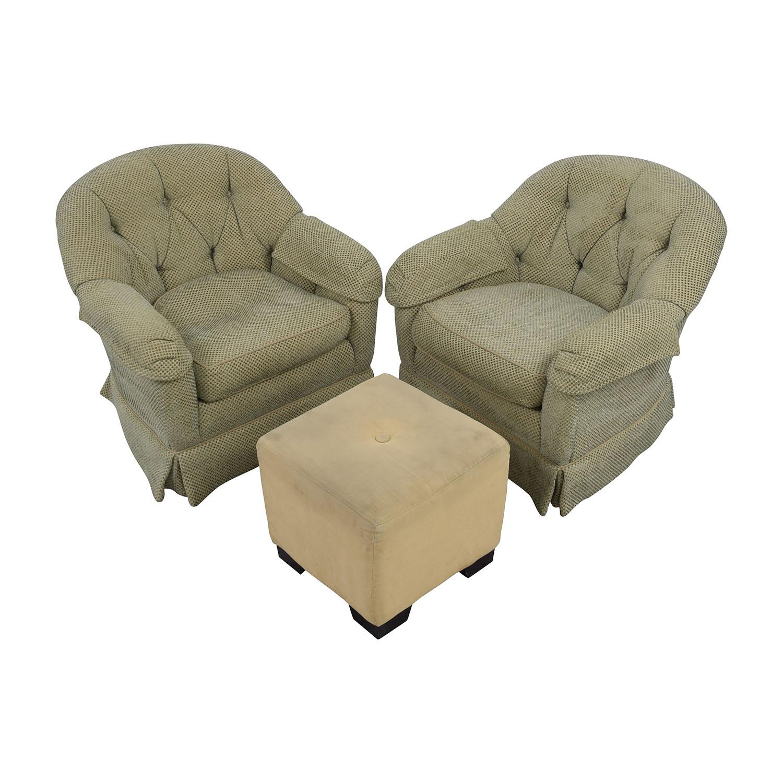 buy Sherrill Furniture Skirted Swivel Club Chairs with Beige Ottoman Sherrill Furniture Chairs