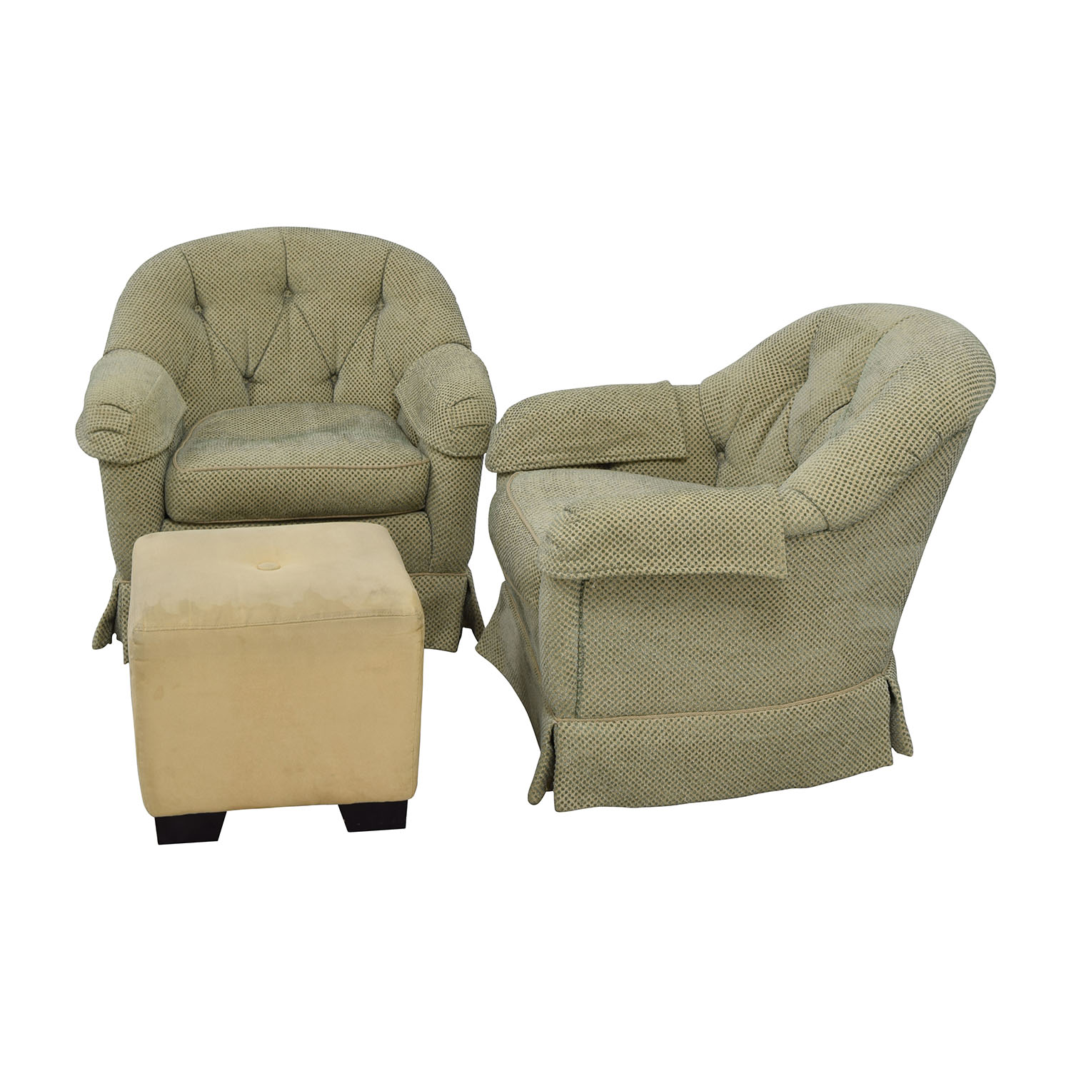 Ordinaire ... Sherrill Furniture Sherrill Furniture Skirted Swivel Club Chairs With  Beige Ottoman Price ...