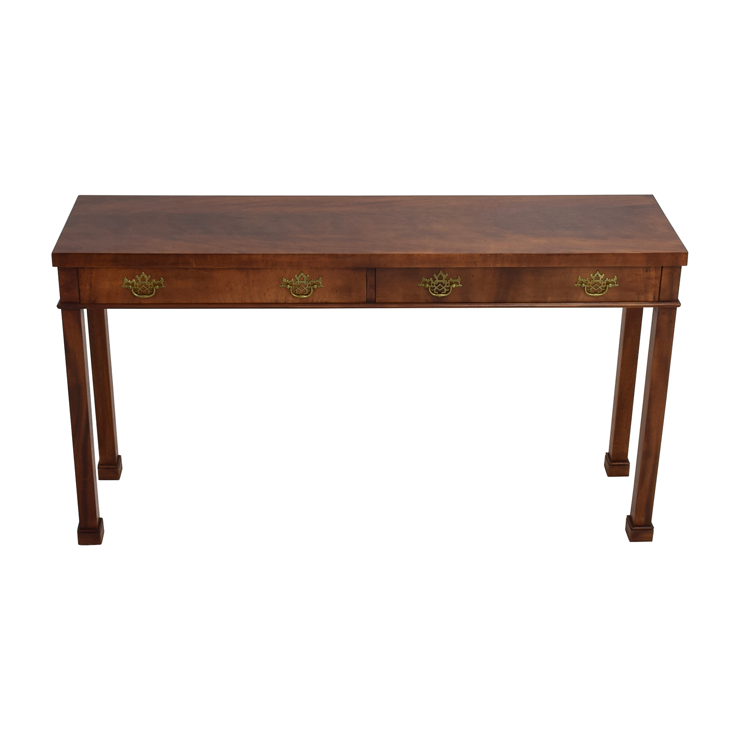 Custom Two-Drawer Wood Sofa Table brown