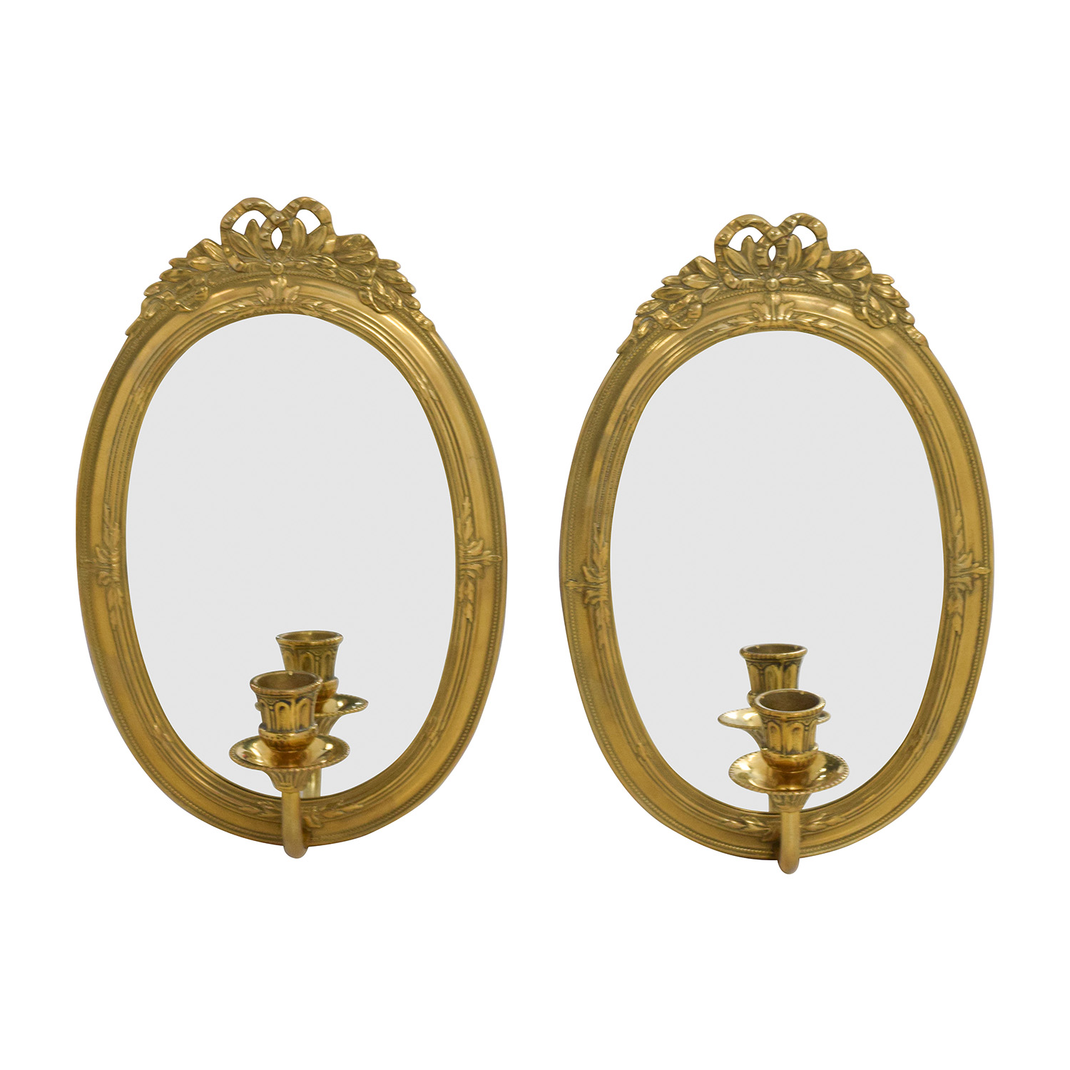 Vintage Gold Frame Wall Mirrors with Candle Holder / Mirrors