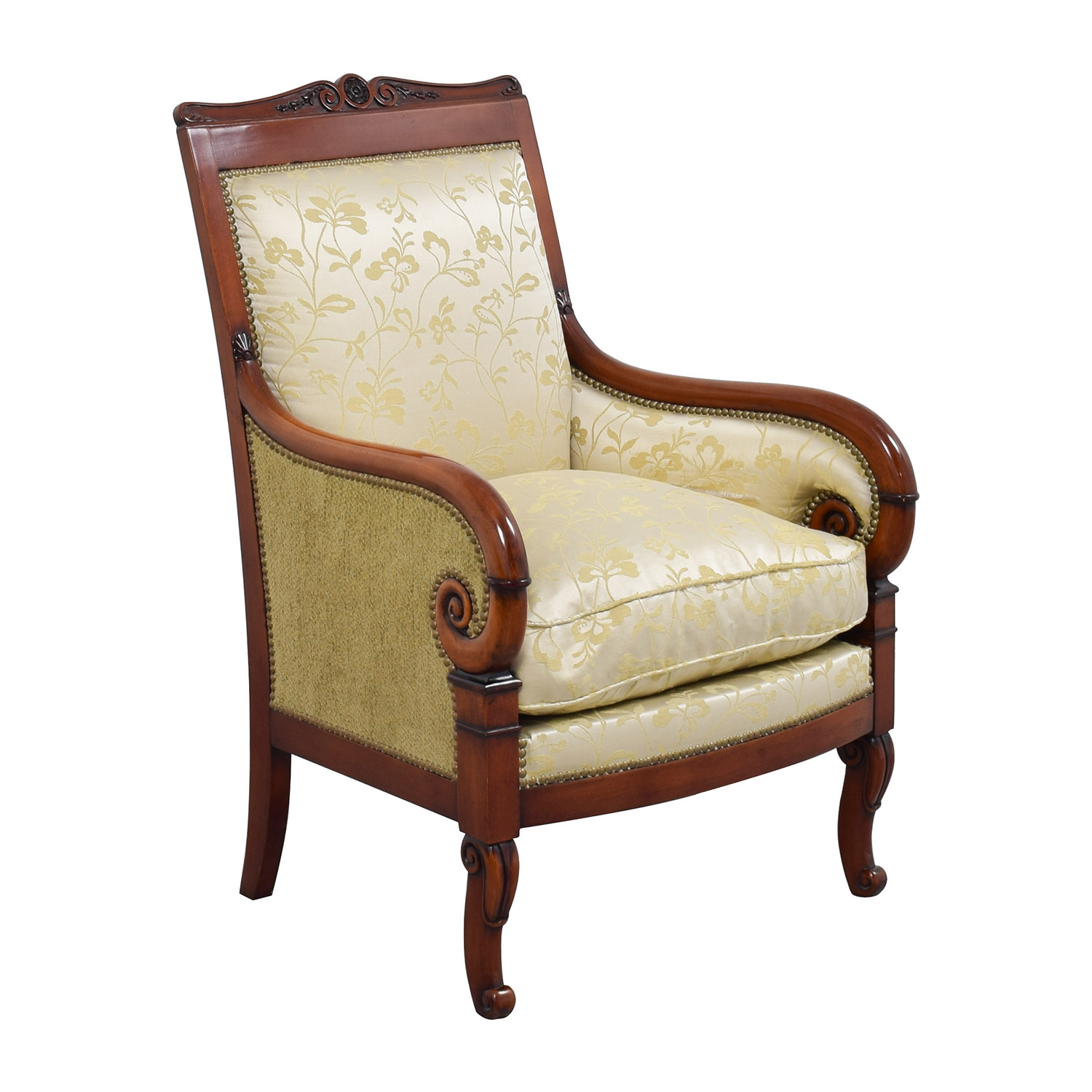 Damask lounge chair -  Silk Damask Gold Upholstered Chair Sale