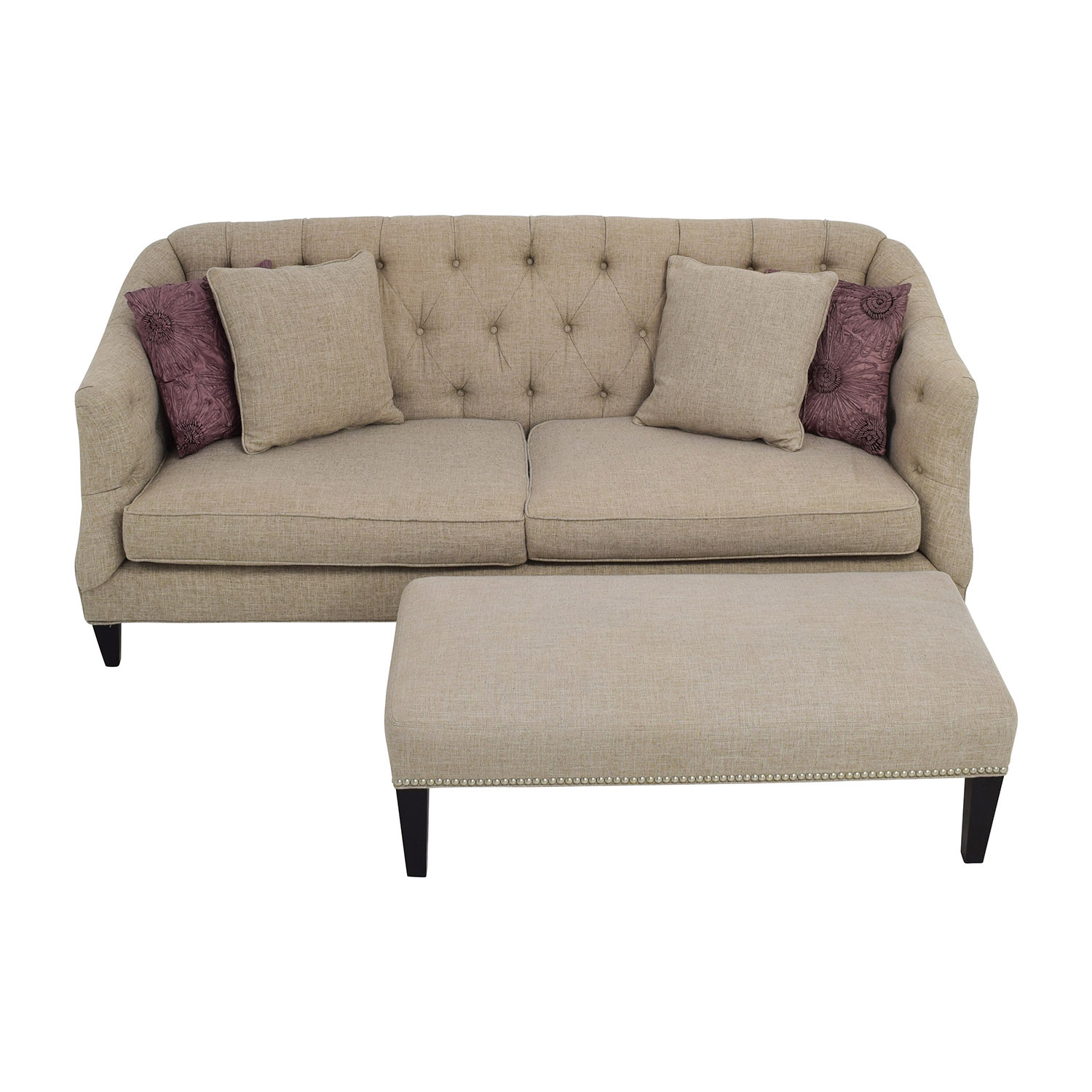 Raymour and Flanigan Raymour & Flanigan Tufted Beige Sofa and Ottoman dimensions