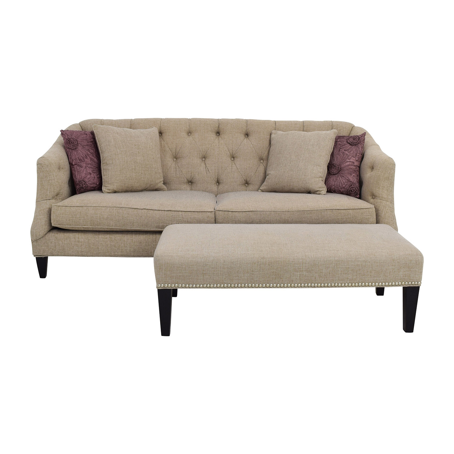 Raymour & Flanigan Tufted Beige Sofa and Ottoman Raymour and Flanigan
