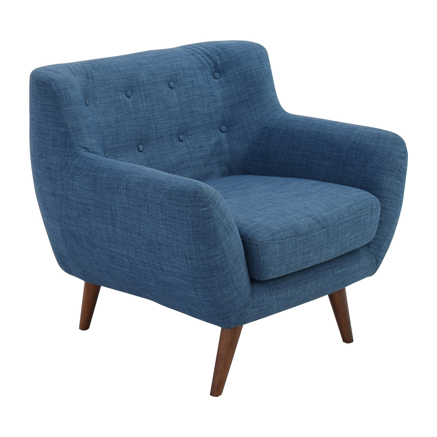 59% OFF - Olson Olson Mid-Century Blue Tufted Arm Chair ...