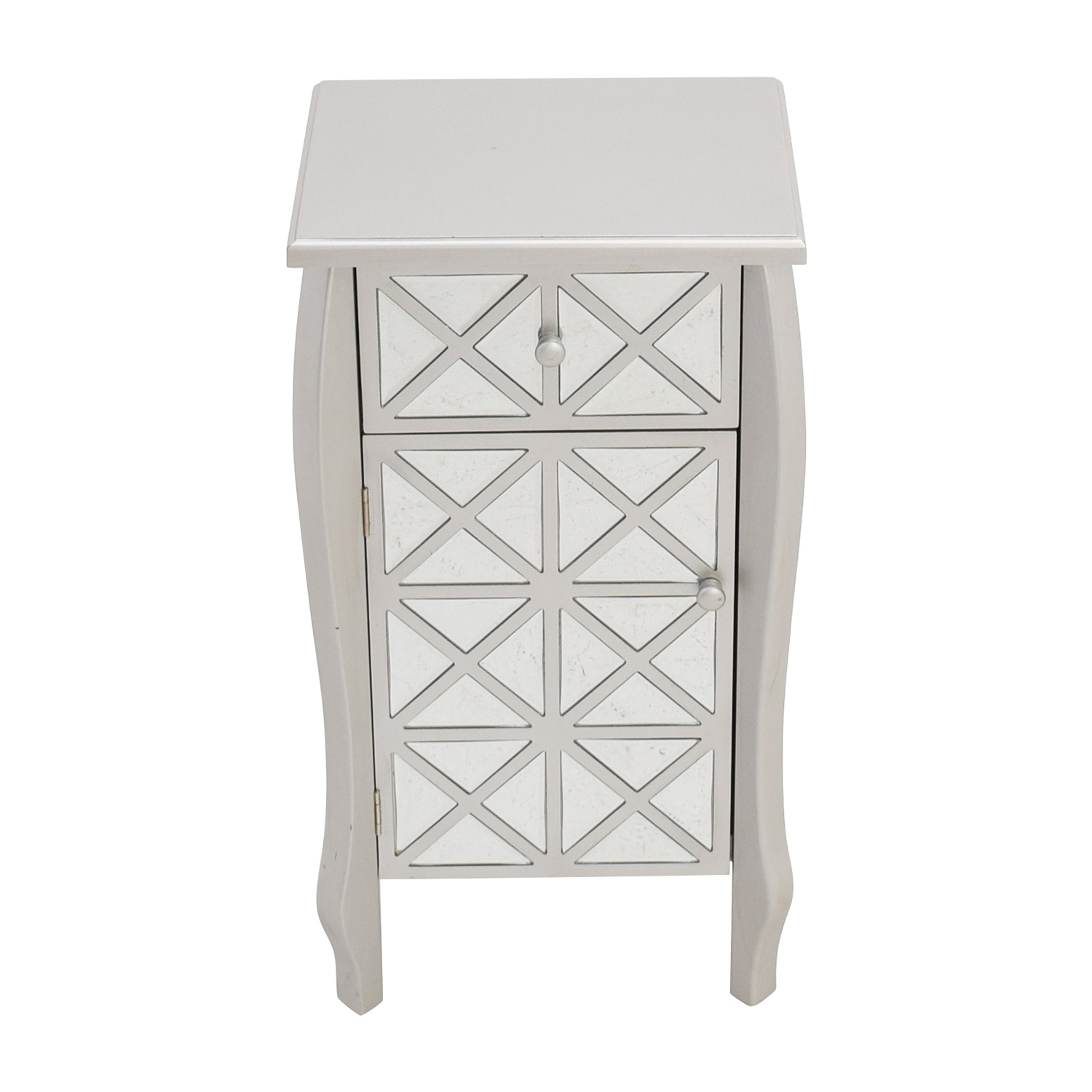 Mirrored Silver End Table