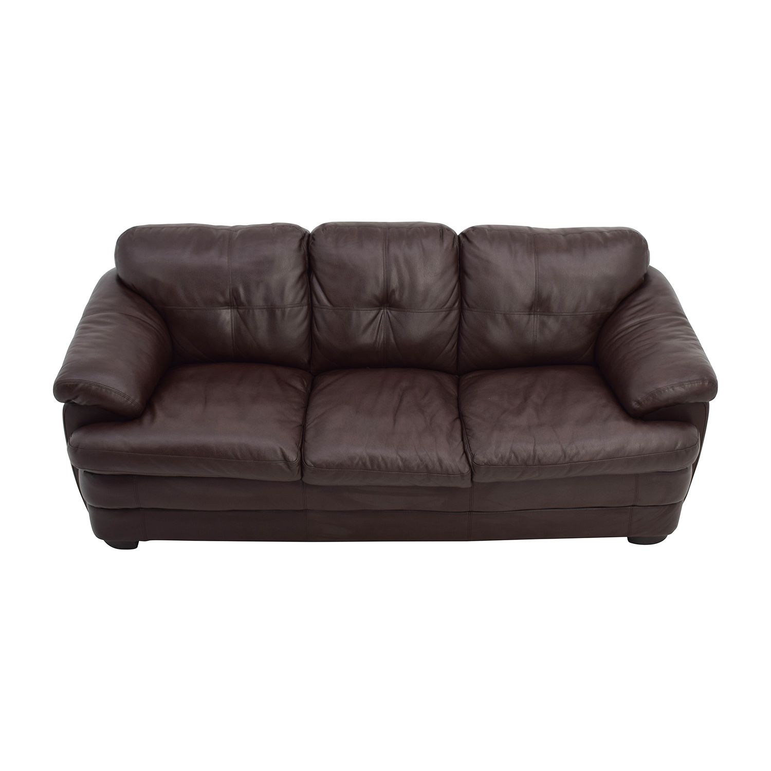 Unkown Brown Faux-Leather Couch nj