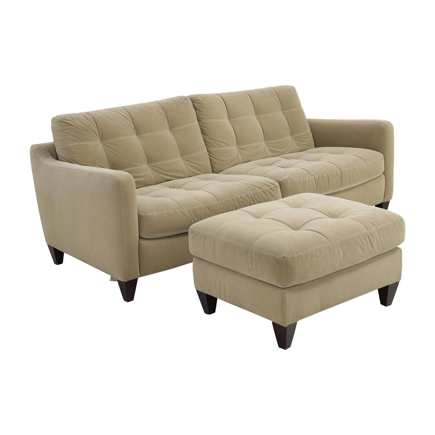 80 off natuzzi natuzzi beige microfiber tufted couch for Small tufted sofa