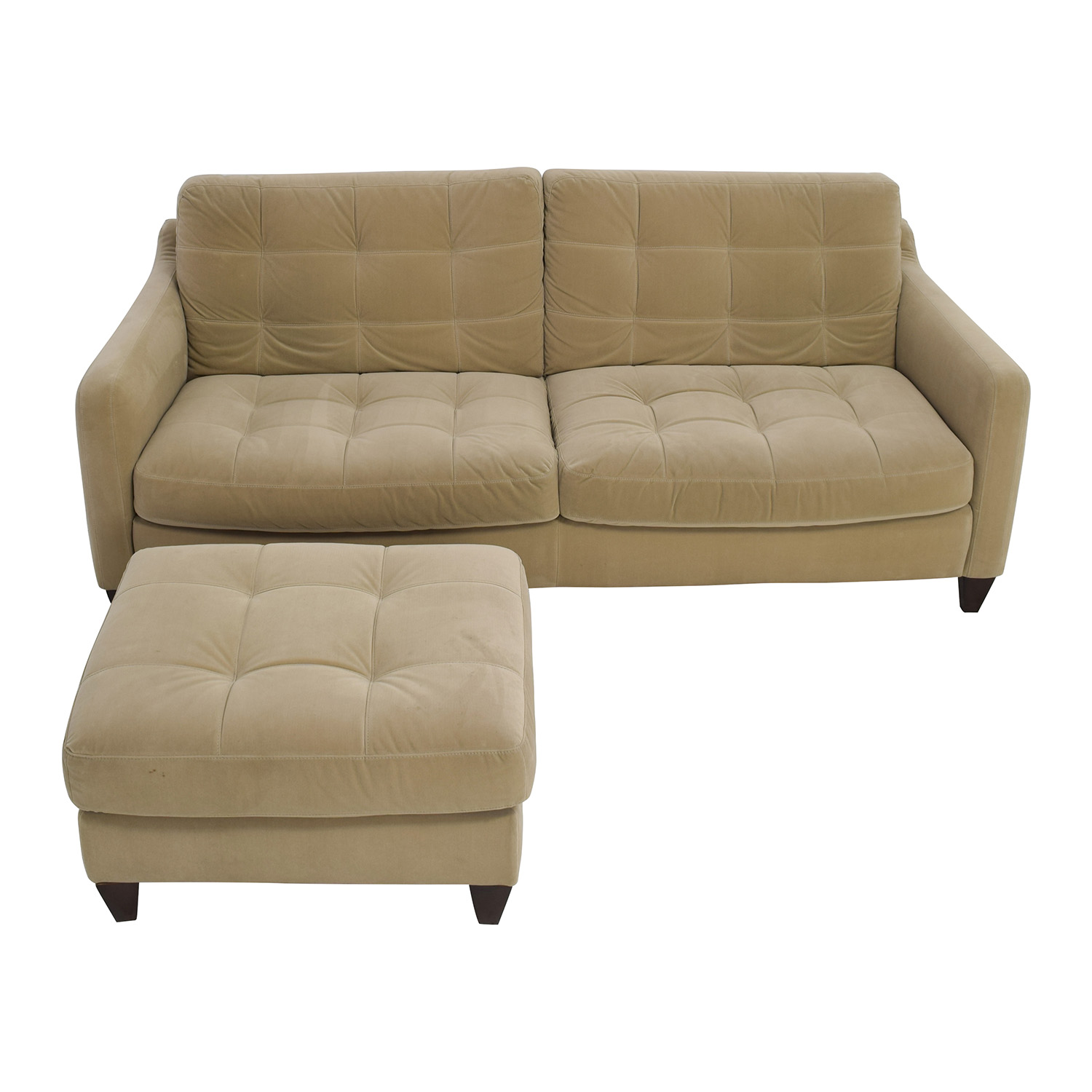 Natuzzi Natuzzi Beige Microfiber Tufted Couch and Ottoman coupon