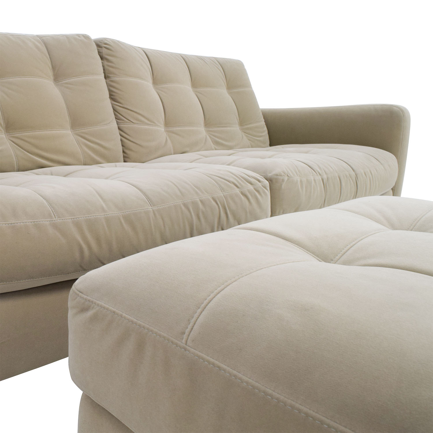 ... Natuzzi Natuzzi Beige Microfiber Tufted Couch And Ottoman Discount ...