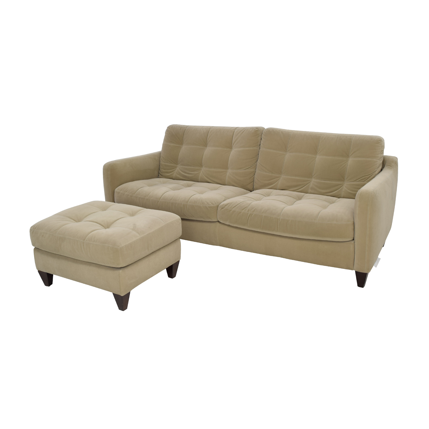 ... Natuzzi Beige Microfiber Tufted Couch And Ottoman Sale ...
