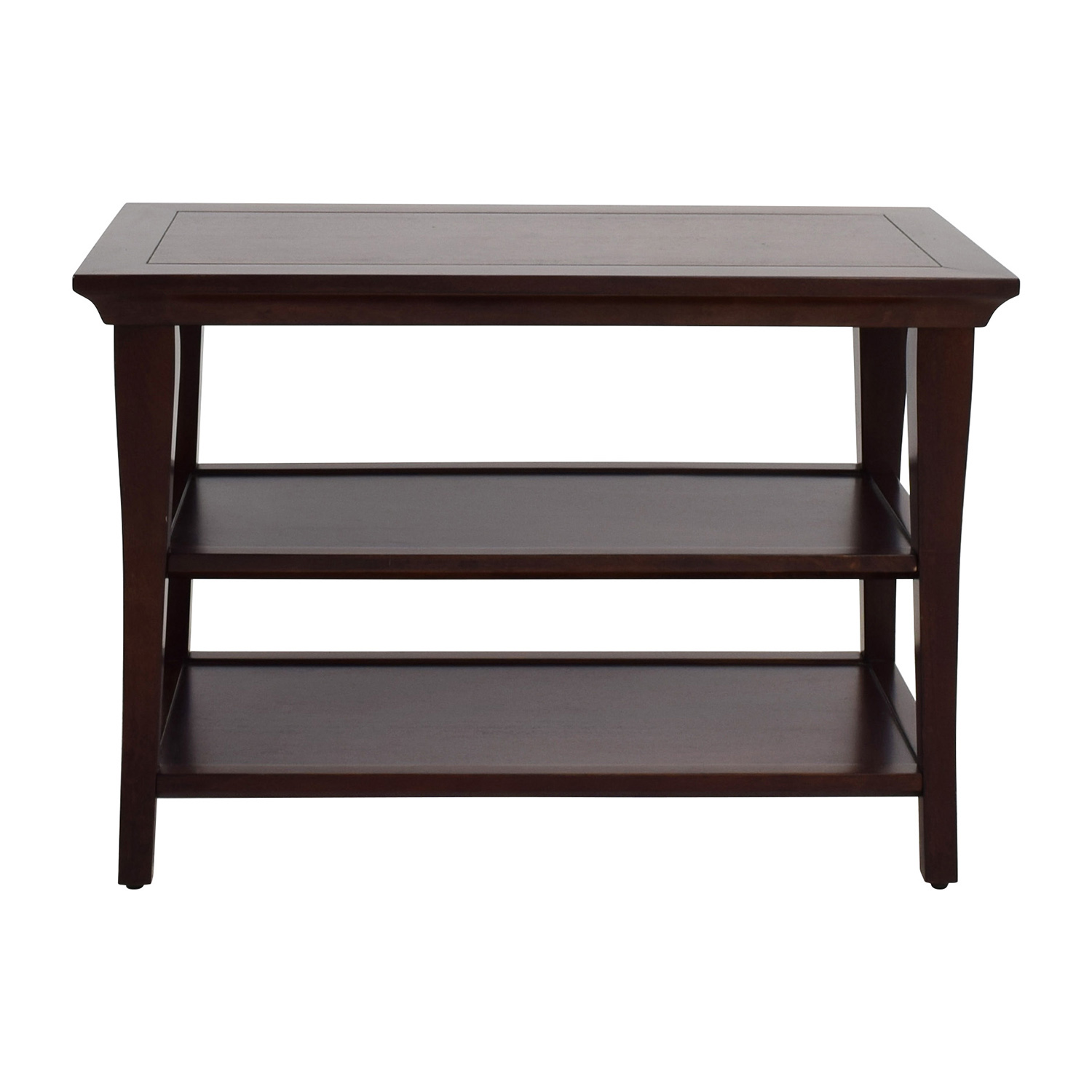 Pottery Barn Wood Table with Shelves / Accent Tables