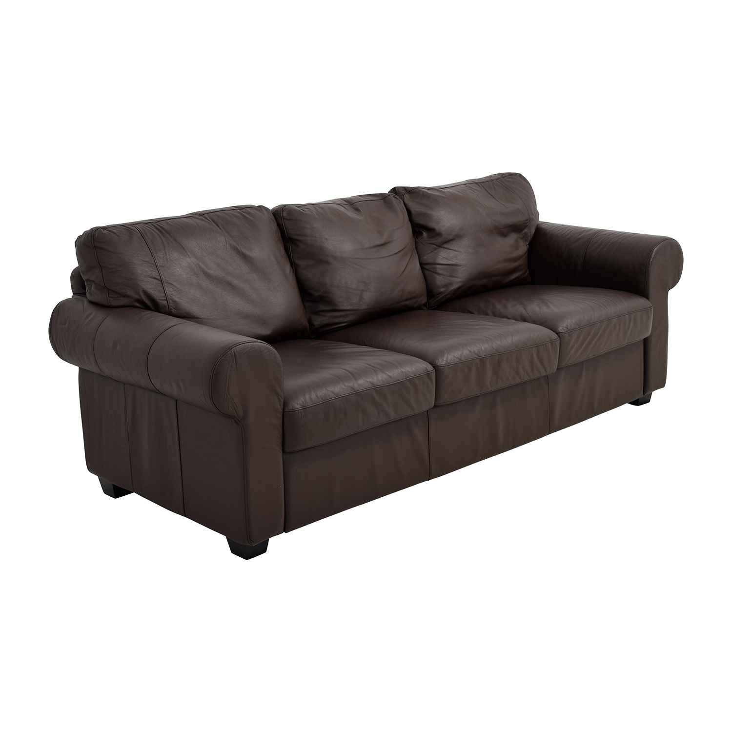 62 off ikea ikea dark brown three cushion leather couch for Cushions for leather sofas