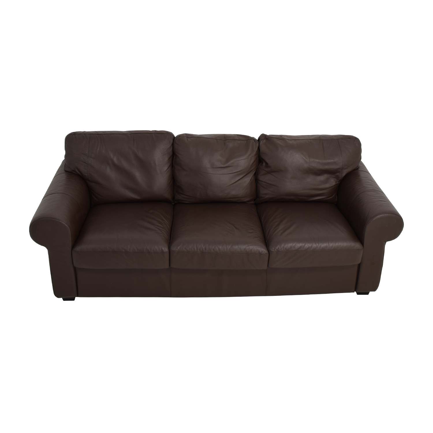62 Off Ikea Dark Brown Three Cushion Leather Couch Sofas