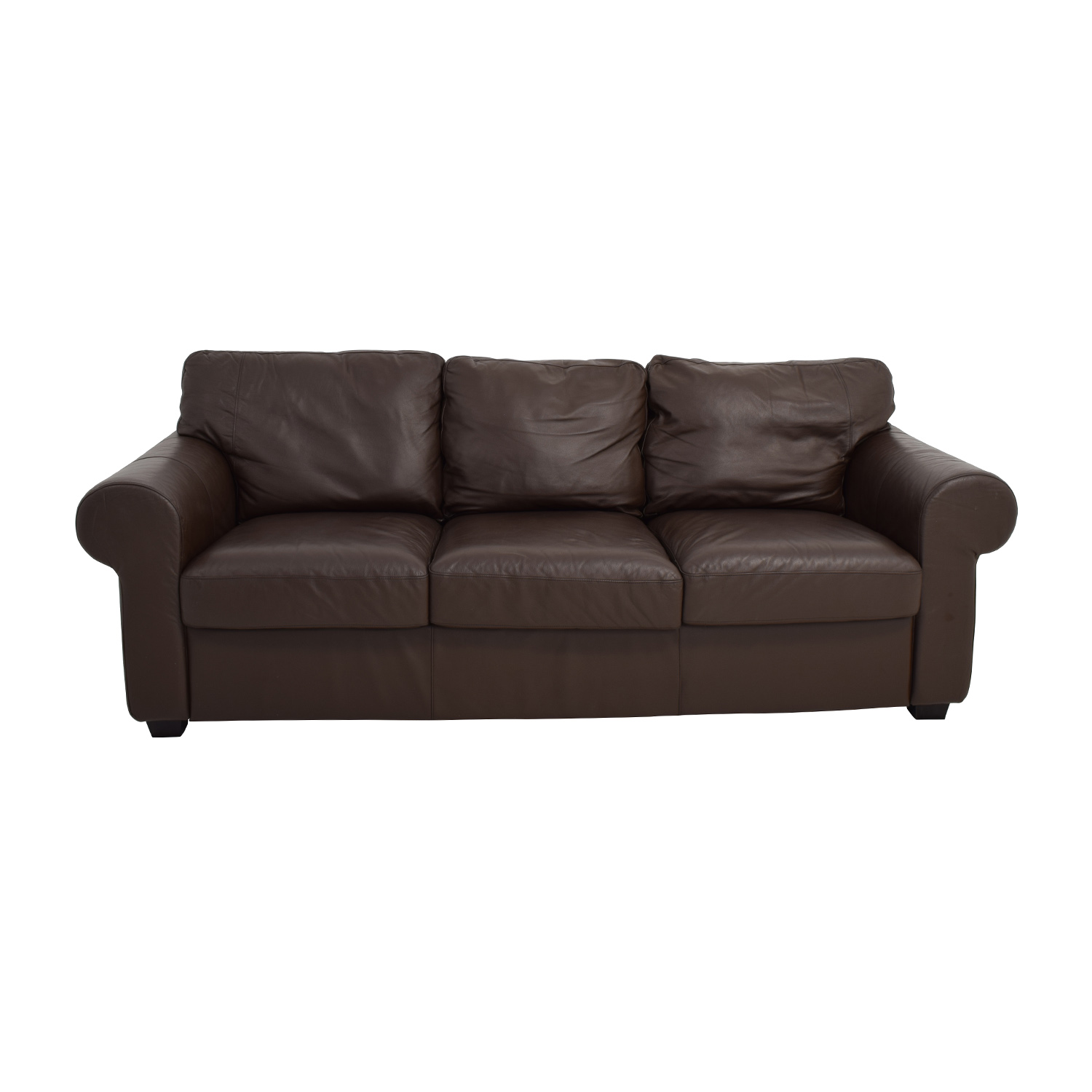 IKEA IKEA Dark Brown Three Cushion Leather Couch coupon