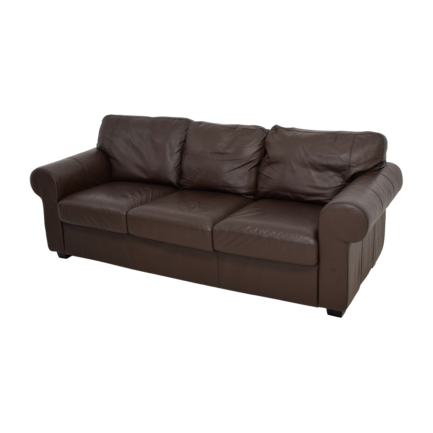 Phenomenal 62 Off Ikea Ikea Dark Brown Three Cushion Leather Couch Sofas Gmtry Best Dining Table And Chair Ideas Images Gmtryco