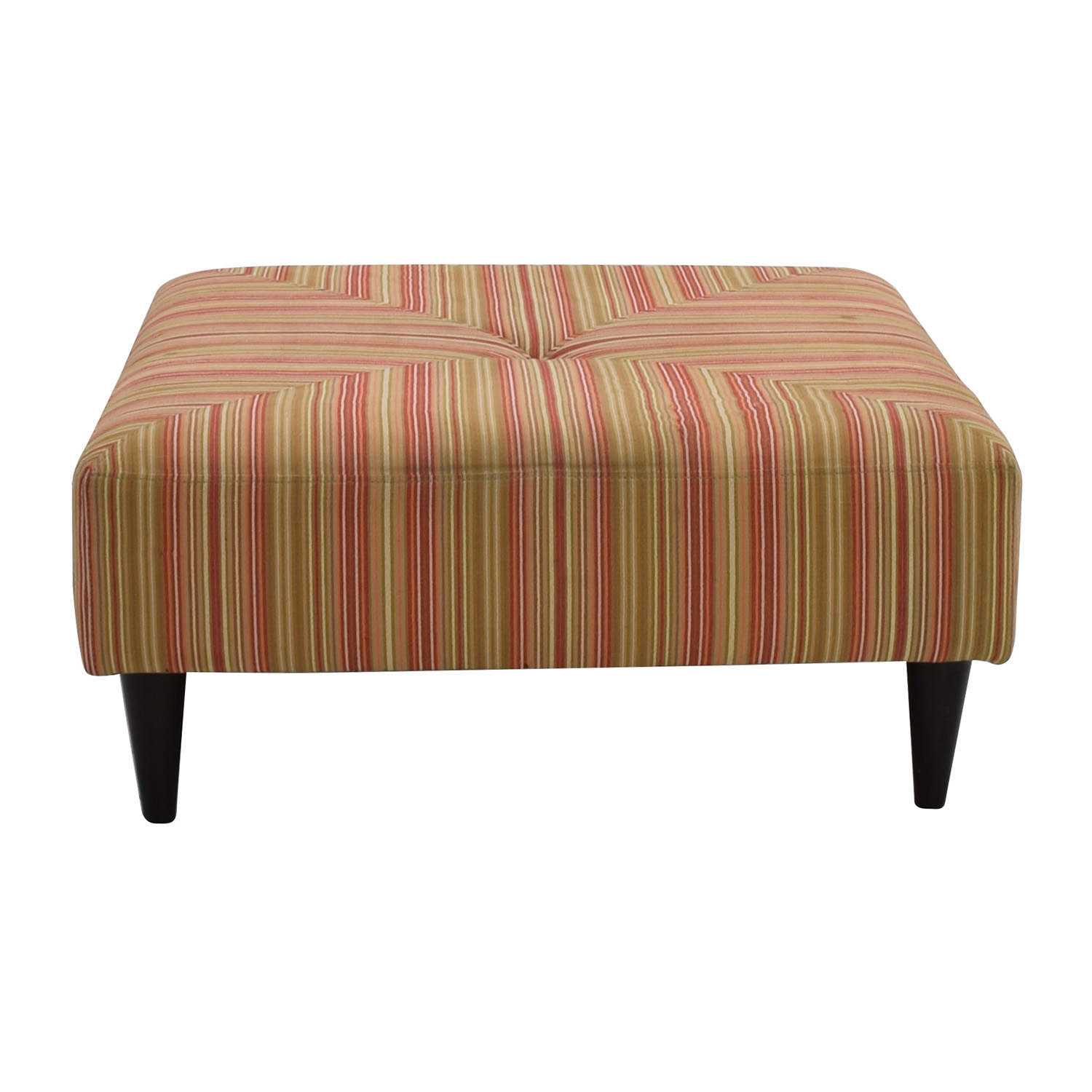 Macys Macy's Red and Green Striped Upholstered Ottoman nj
