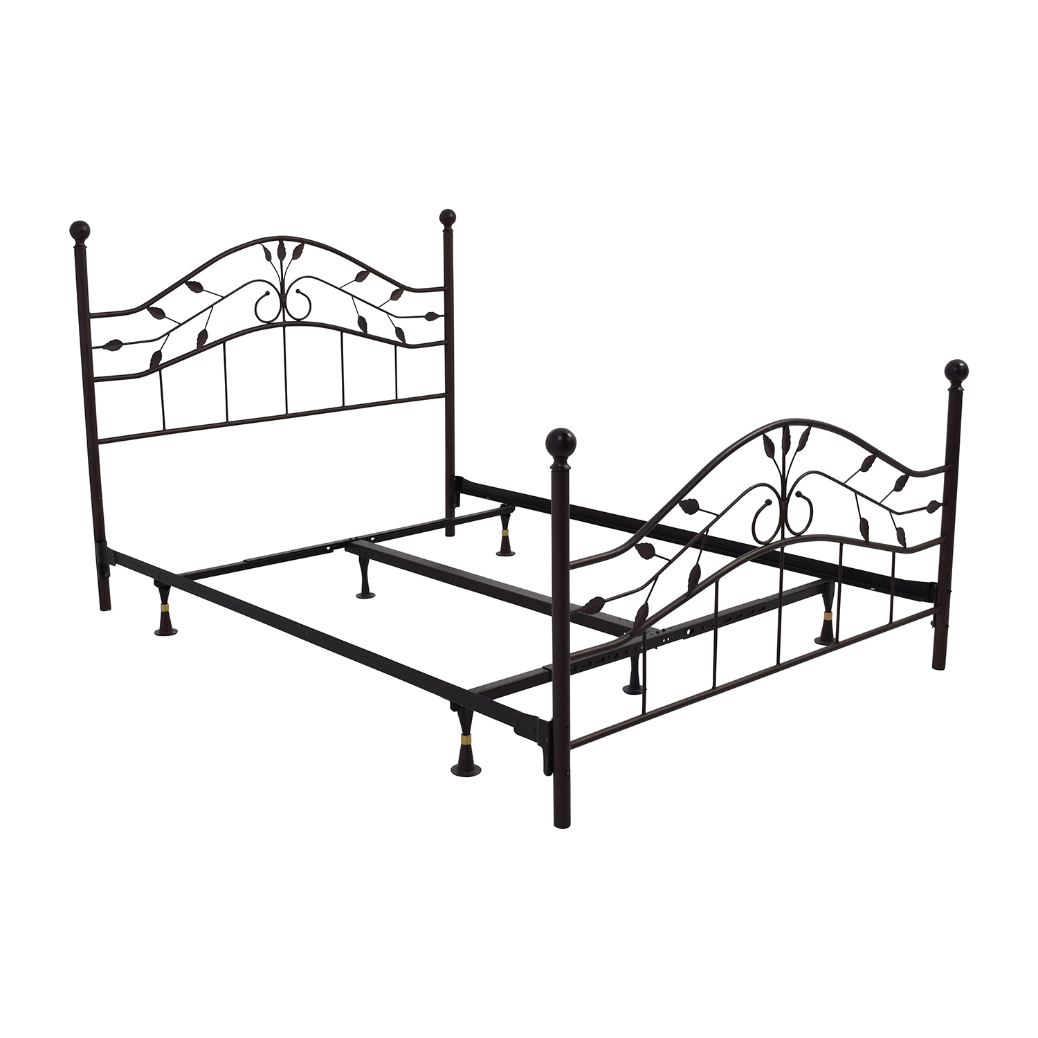 67 off metal queen size leaf design bed frame beds for Queen size bed frame