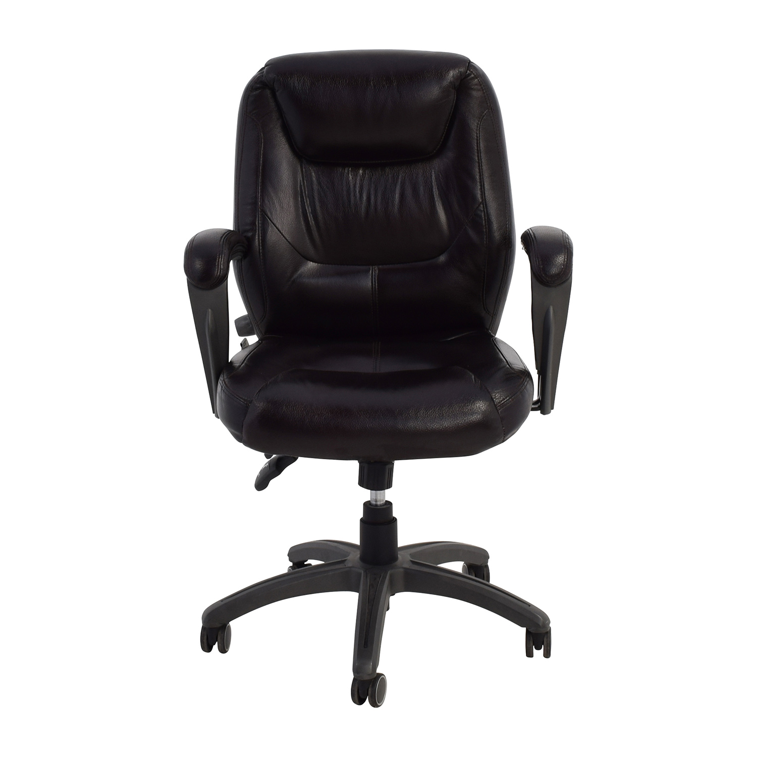 81% OFF   Thomasville Thomasville Brown Leather Rolling Desk Chair / Chairs
