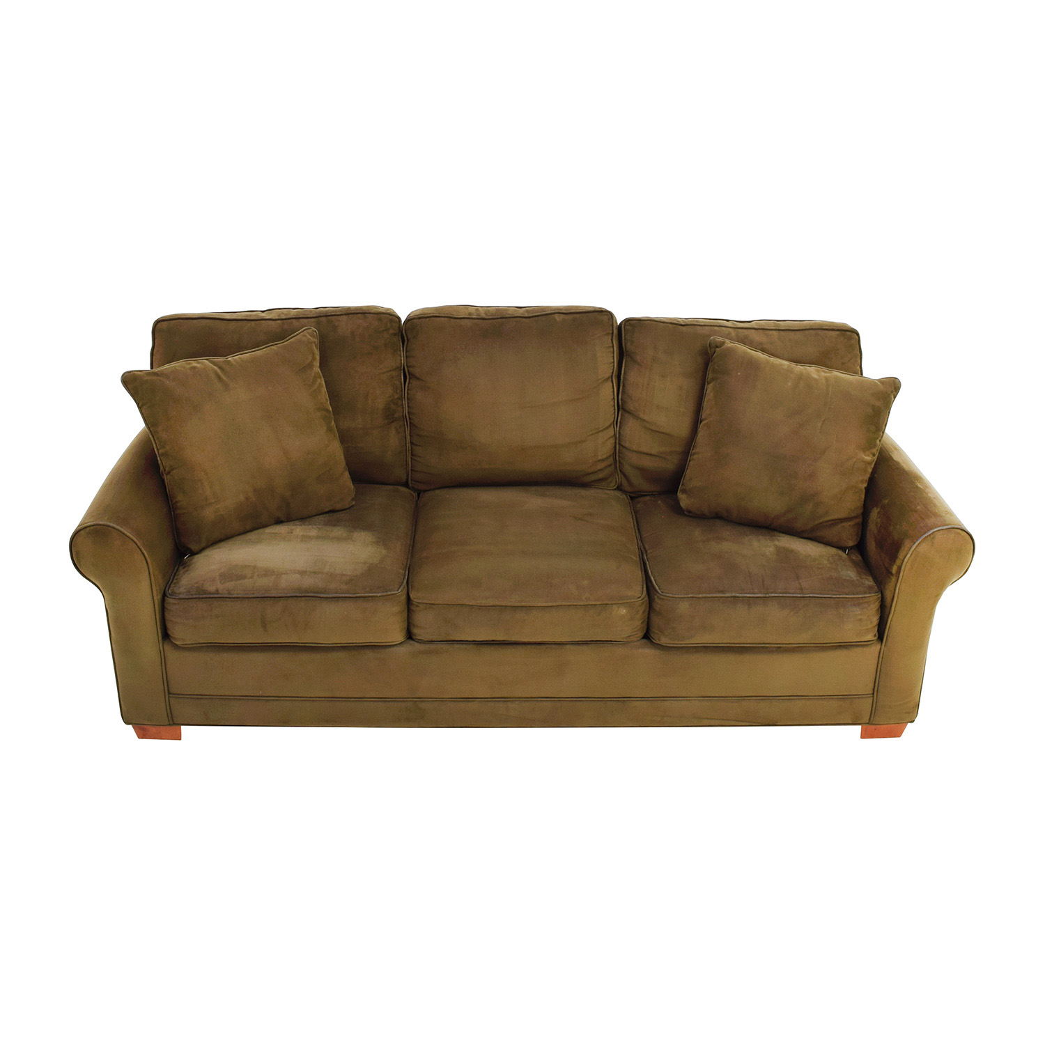 cb2 leather sofa on a bud