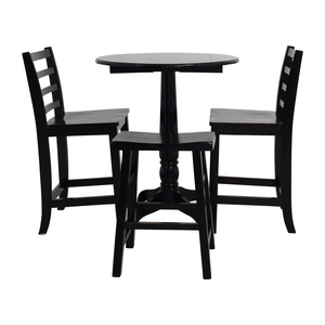 shop Counter Black Round Table with  Chairs and Stool