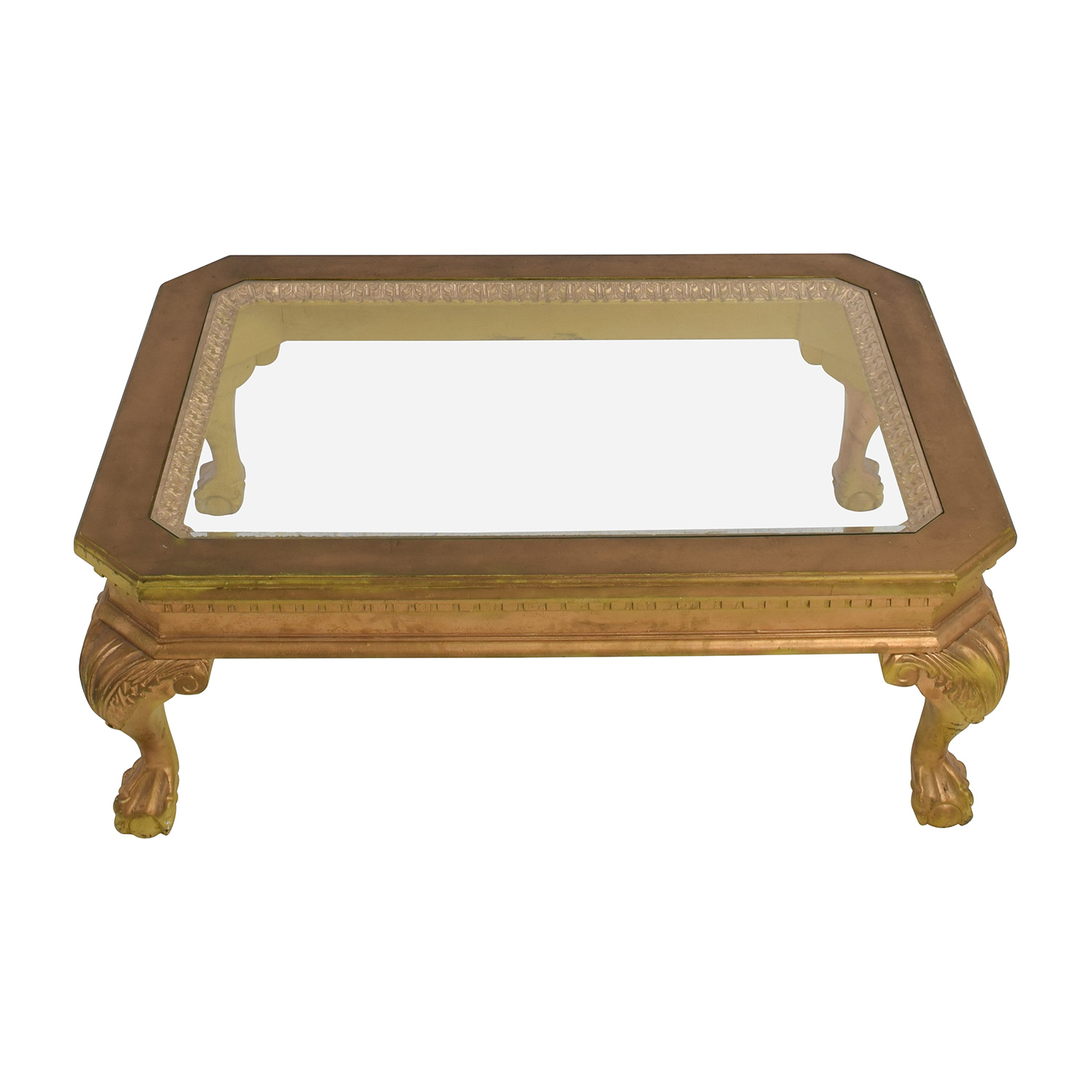 75 off distressed wood antique gold and glass coffee table tables Used glass coffee table