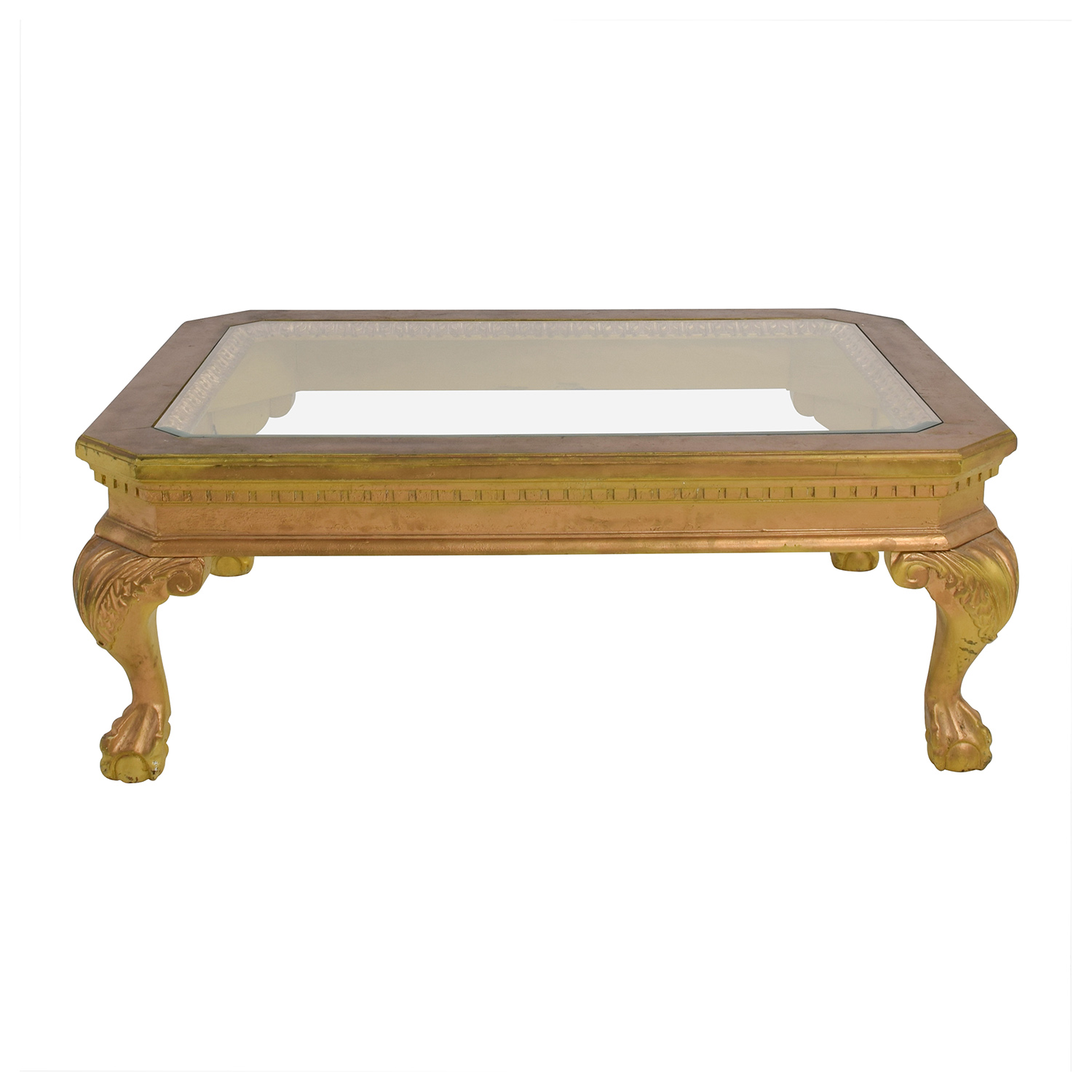75 Off Distressed Wood Antique Gold And Glass Coffee Table Tables