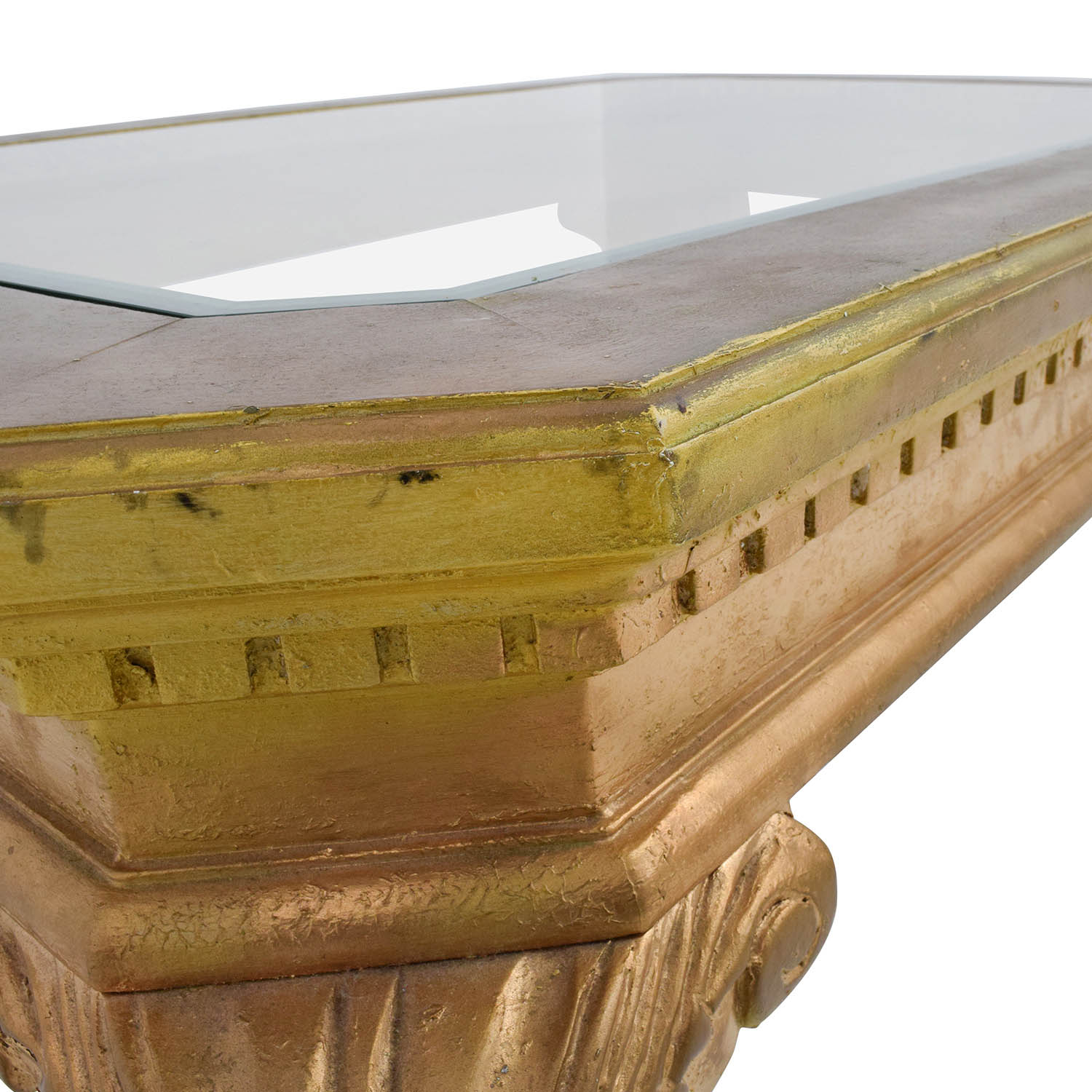 Antique Gold And Glass Coffee Table: Distressed Wood Antique Gold And Glass Coffee