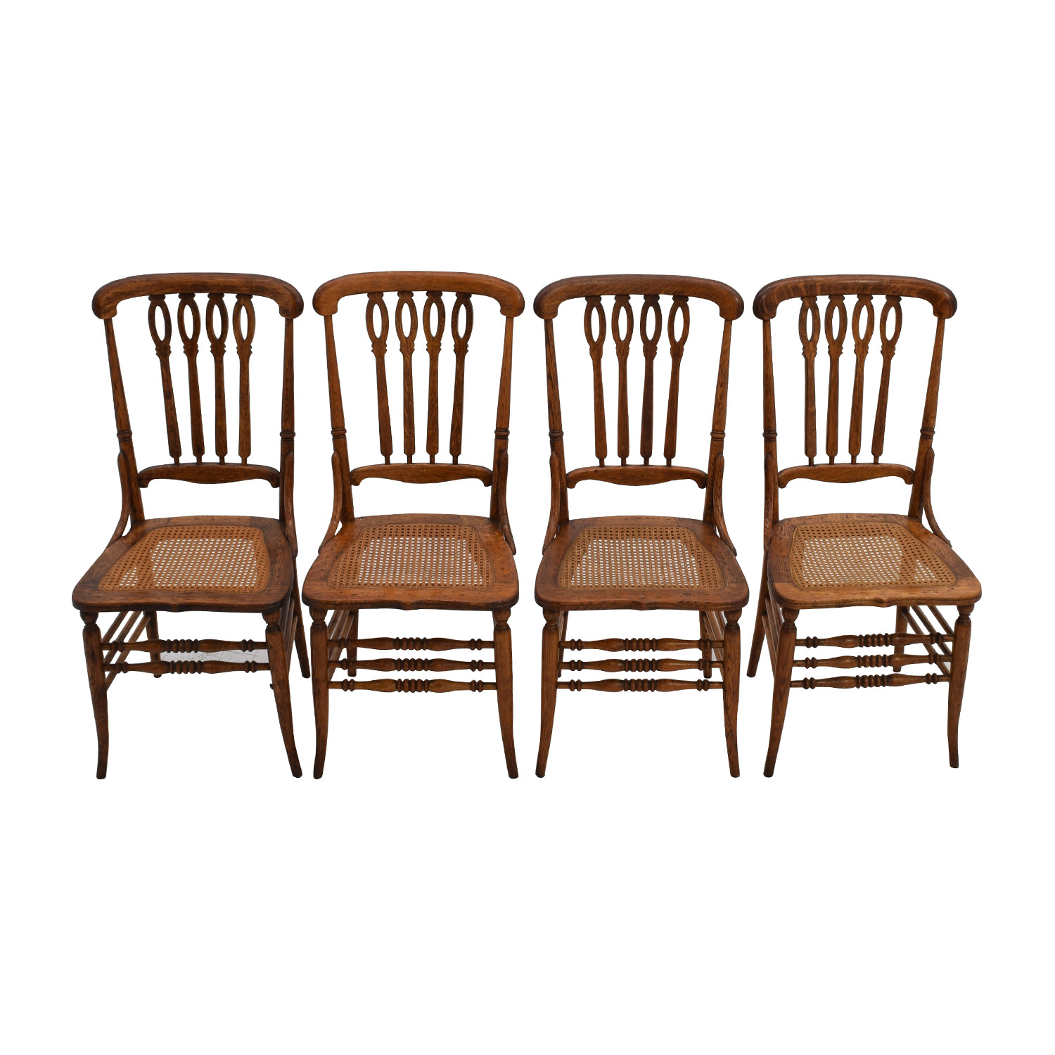 Antique Cane Weaved Wood Dining Chairs discount