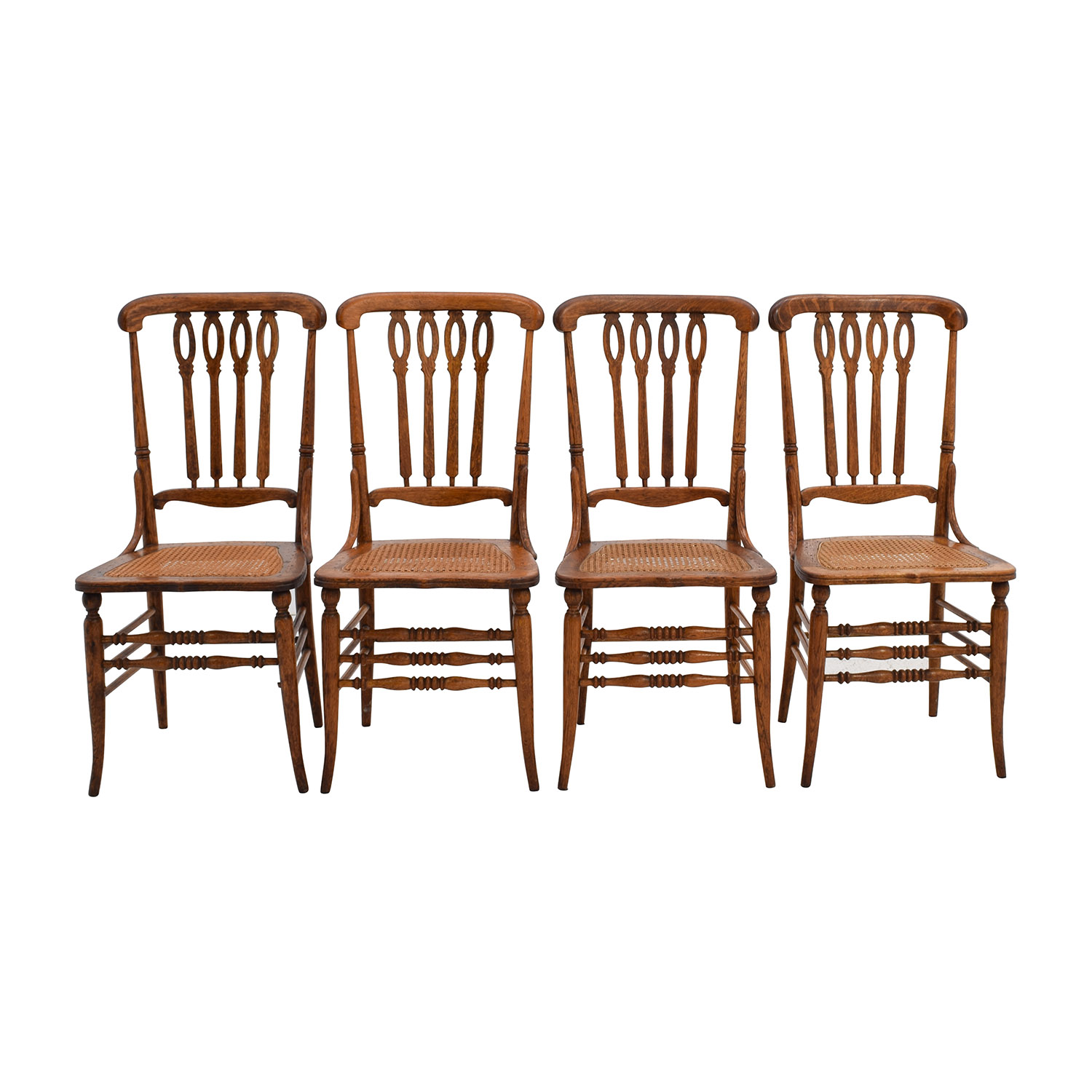 Antique Cane Weaved Wood Dining Chairs / Sofas
