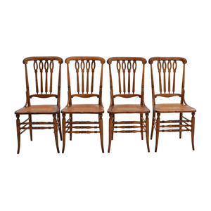 Antique Cane Weaved Wood Dining Chairs sale