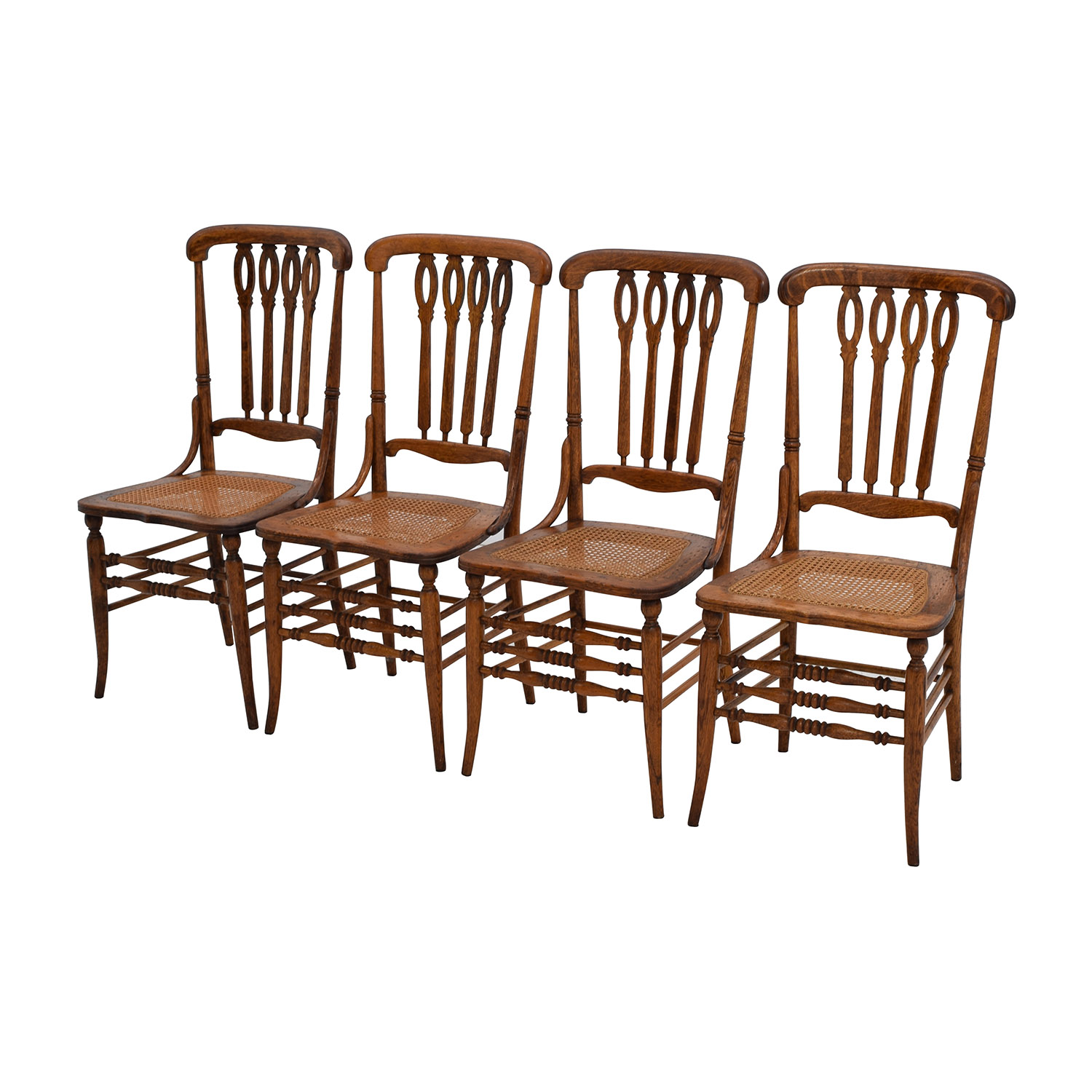Off antique cane weaved wood dining chairs