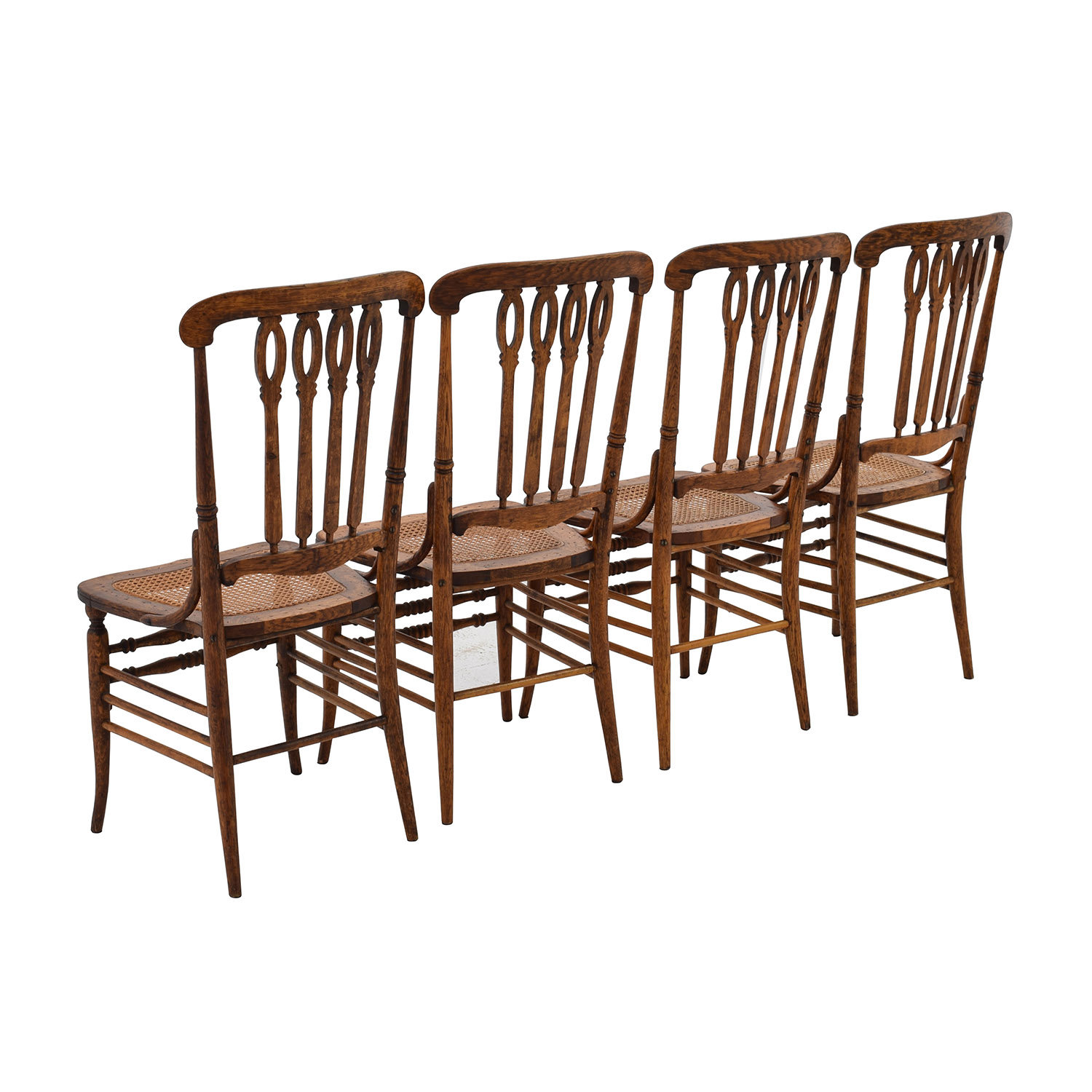 52% OFF Antique Cane Weaved Wood Dining Chairs Chairs