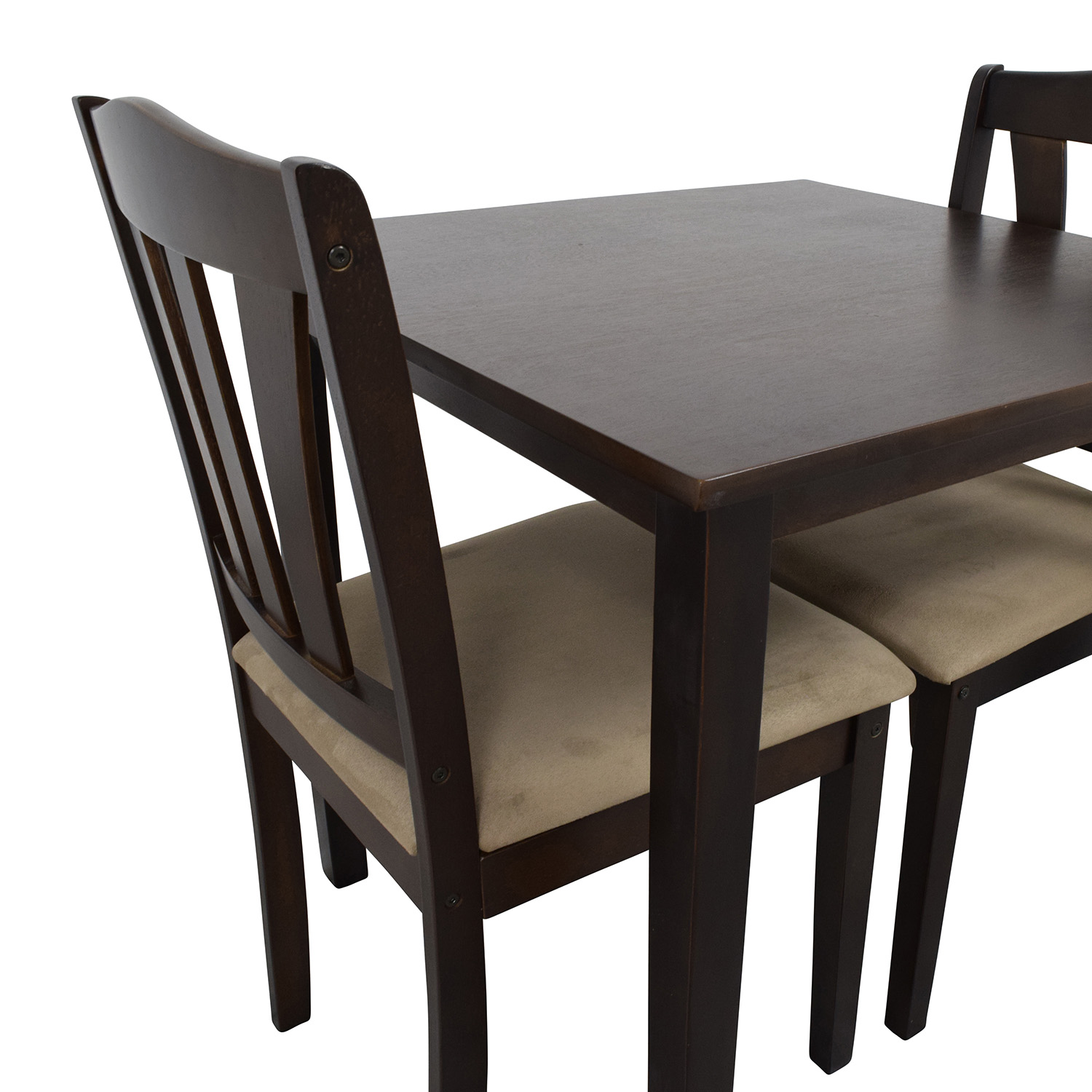 46 off wood dining table and beige upholstered chairs for Wooden dining table chairs