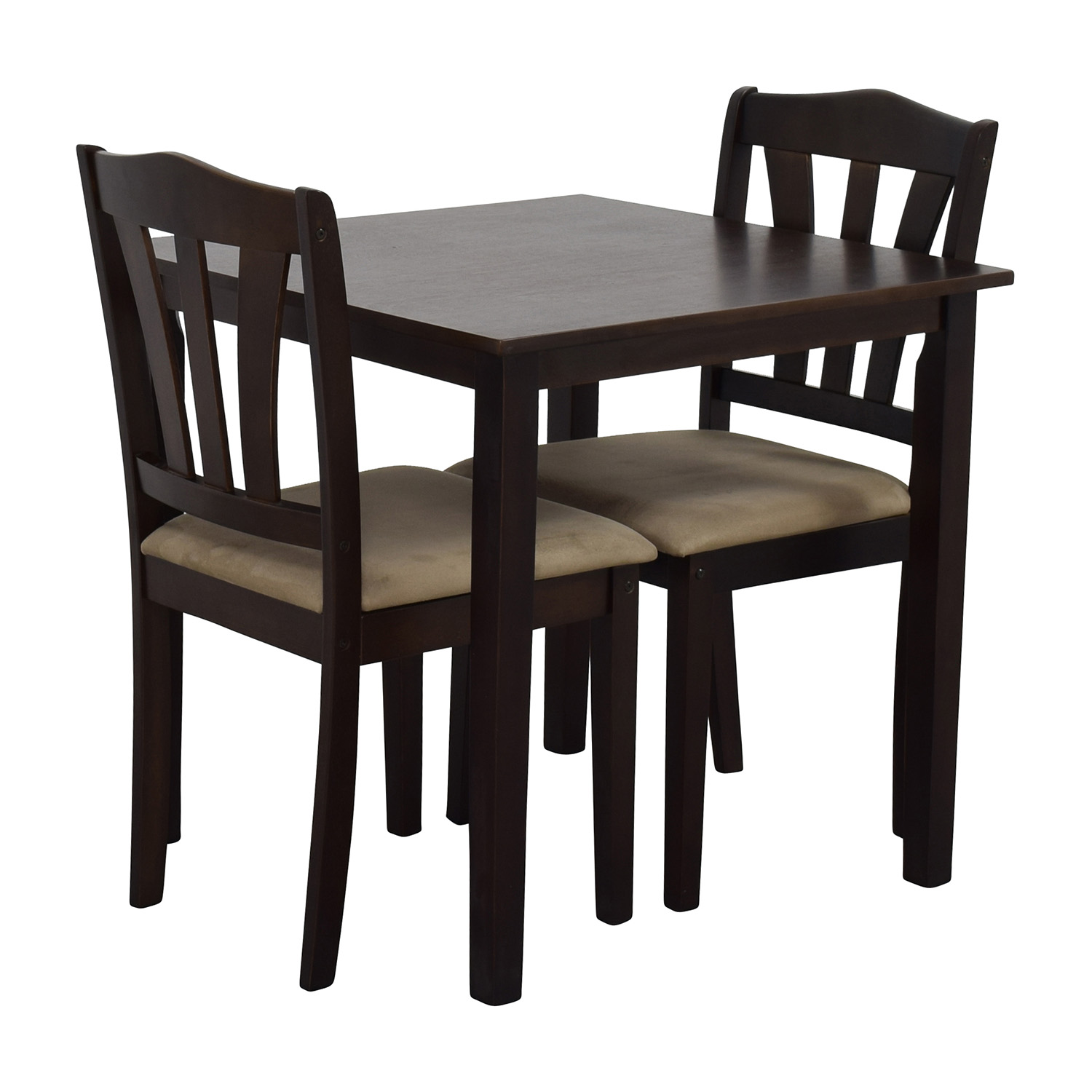 Off wood dining table and beige upholstered chairs