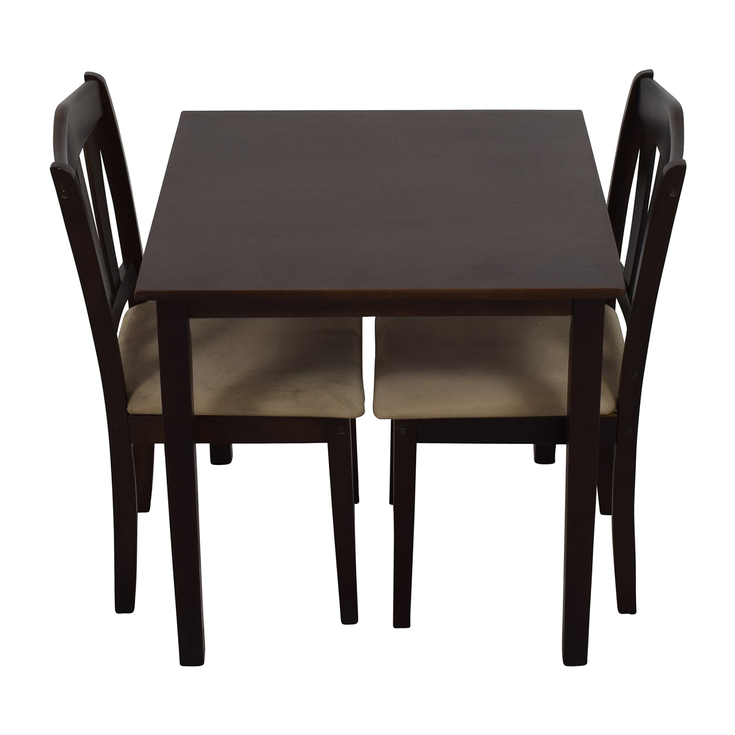 Wood Dining Table and Beige Upholstered Chairs price