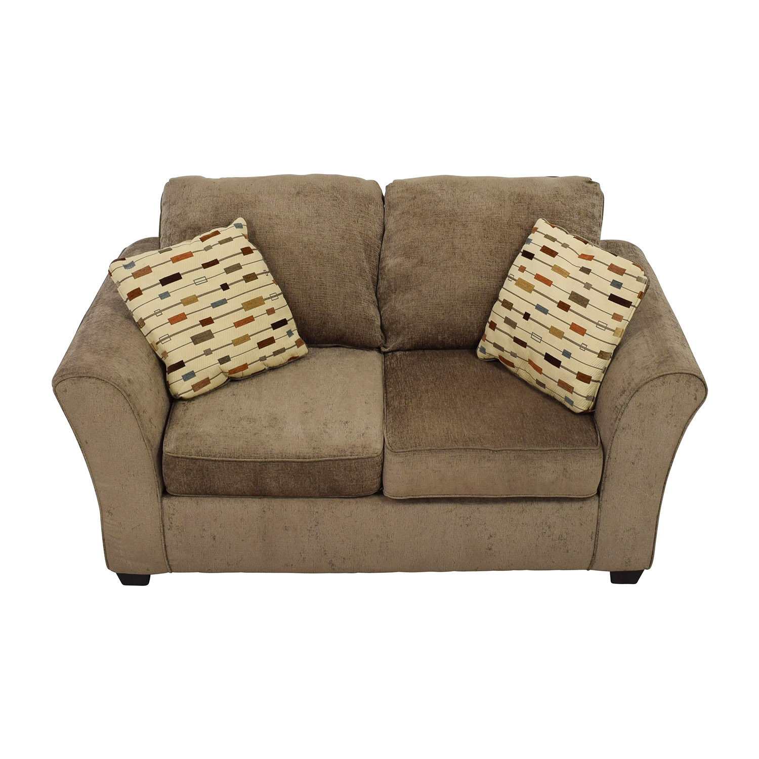 Klaussner Salina Brown Two Seater Loveseat with Pillows / Sofas