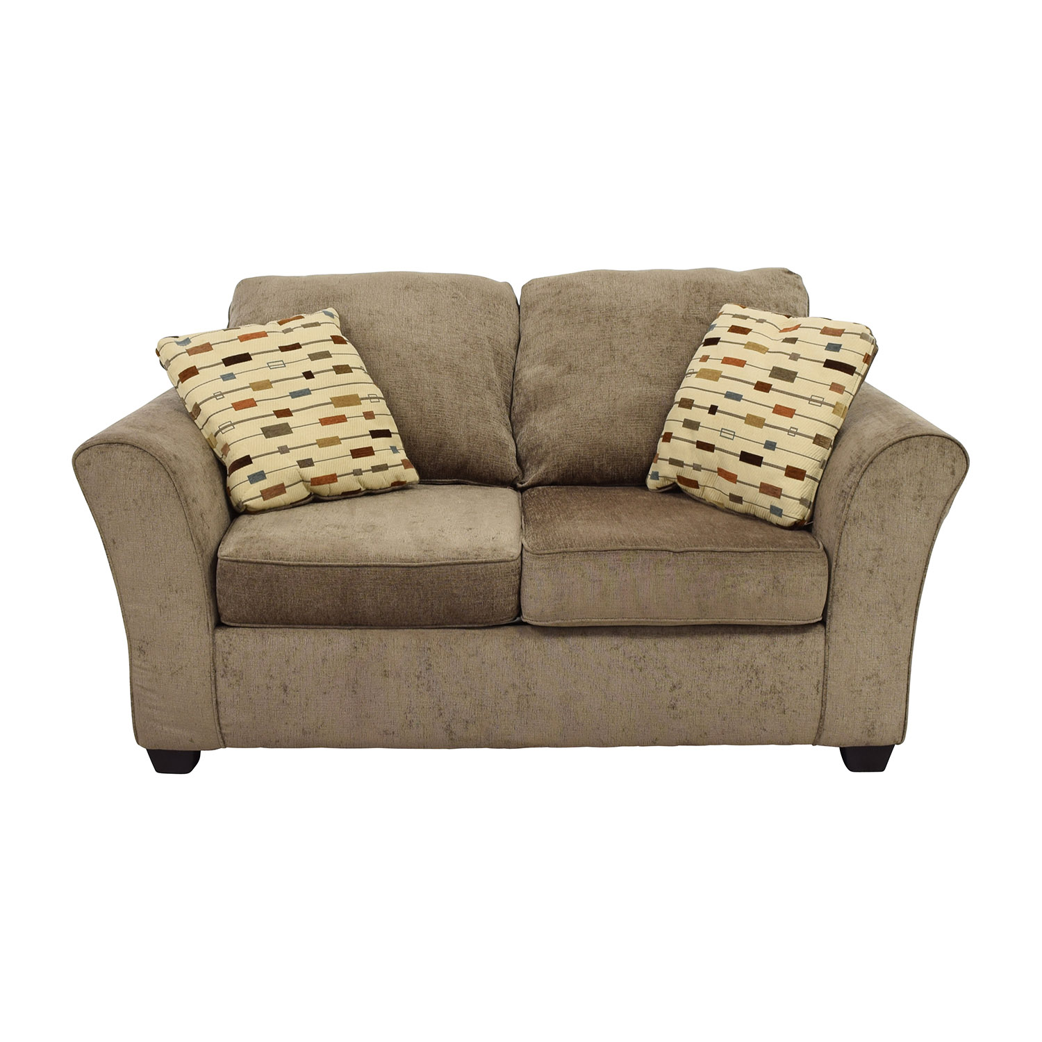 Klaussner Salina Klaussner Salina Brown Two Seater Loveseat with Pillows nyc