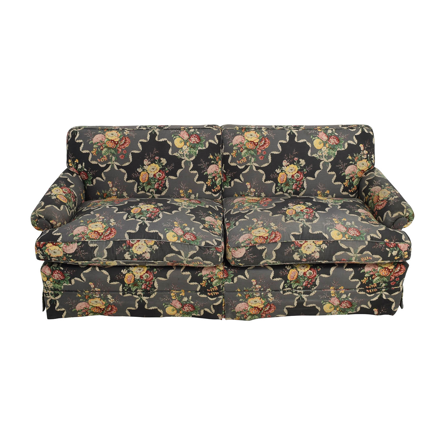 shop Custom Black Floral Skirted Sofa Classic Sofas
