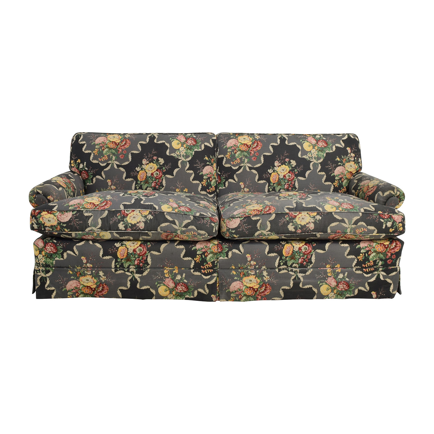 Custom Black Floral Skirted Sofa nj
