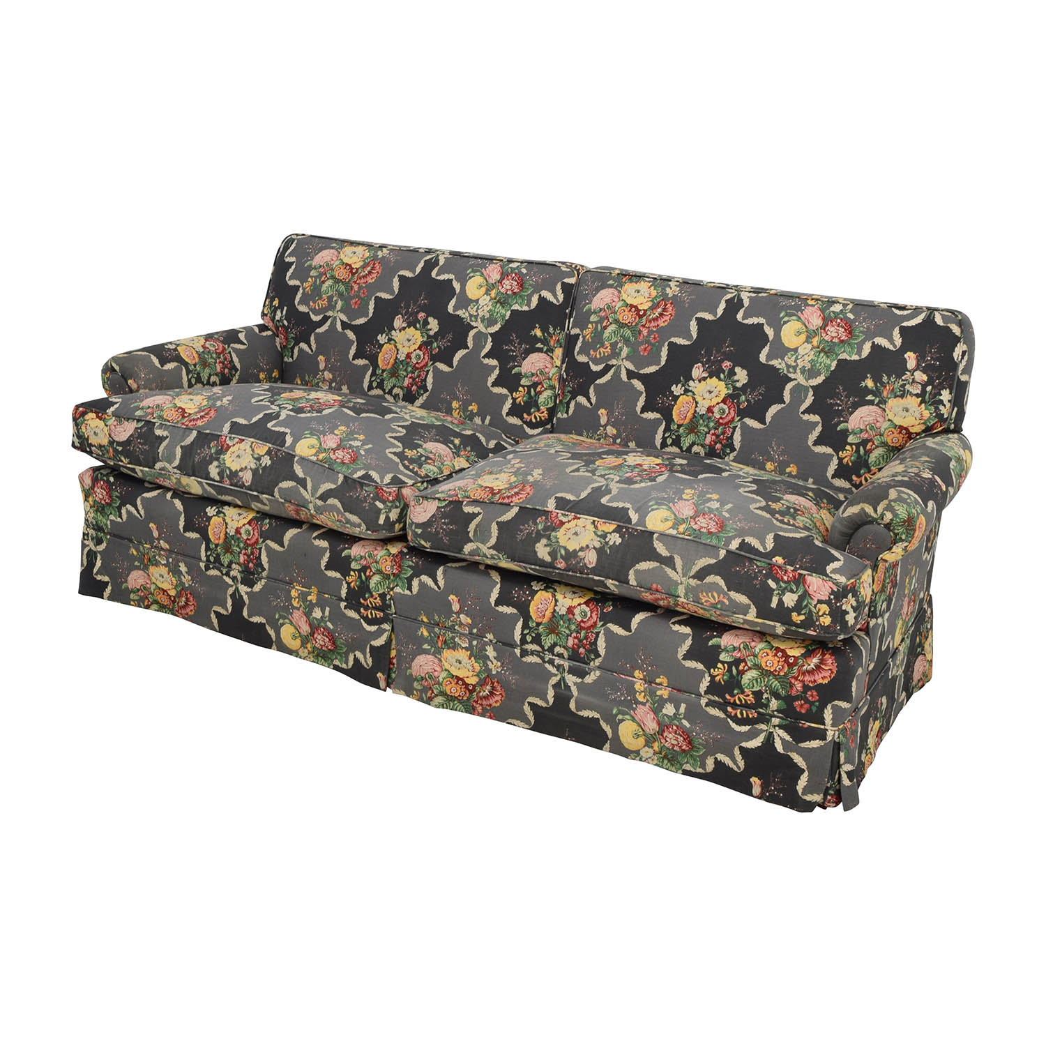 ... Custom Black Floral Skirted Sofa / Classic Sofas ...
