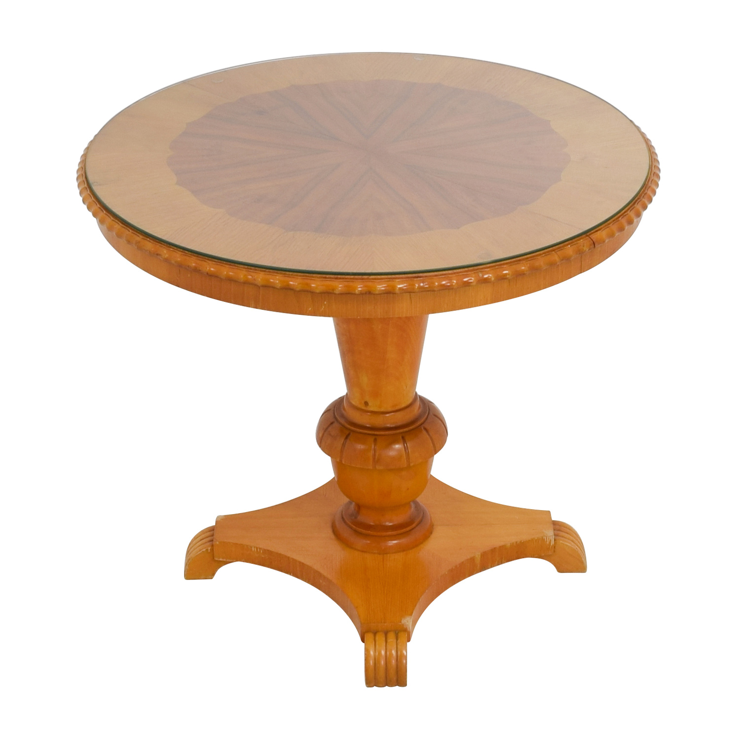 buy Antique Round Wood Dining Table with Glass Top Tables